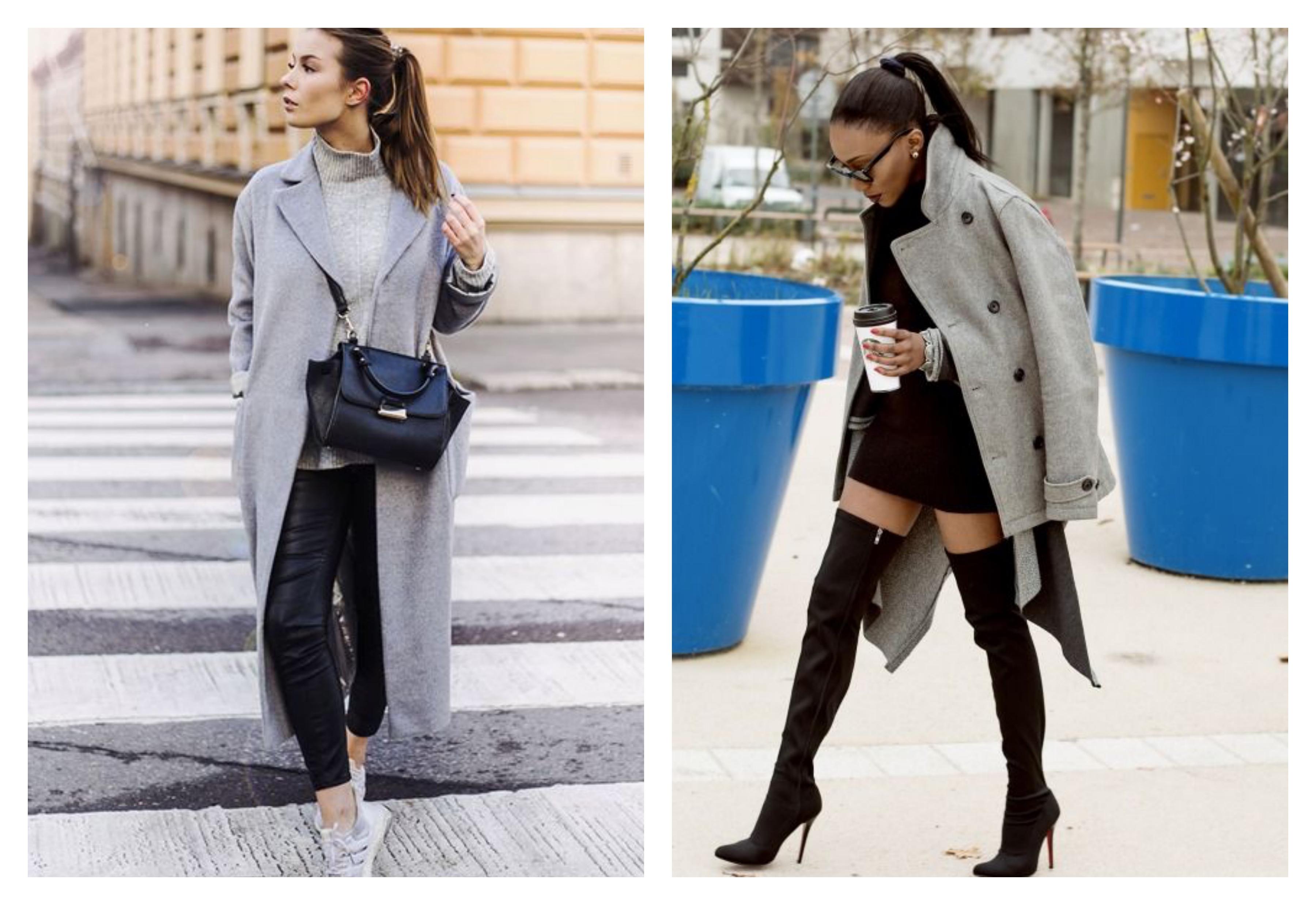 светлое серое женское пальто