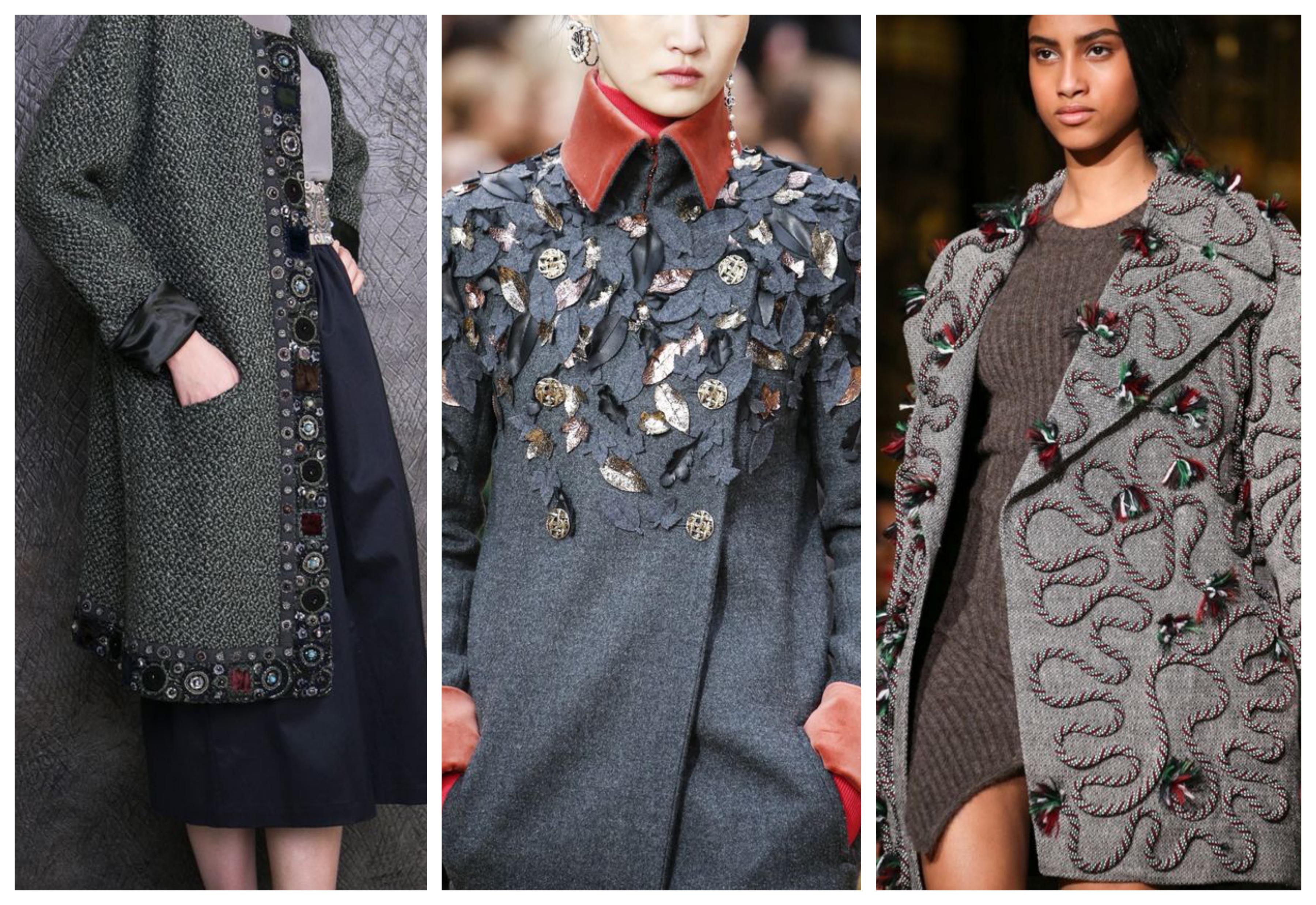 Серое женское пальто с пайетками