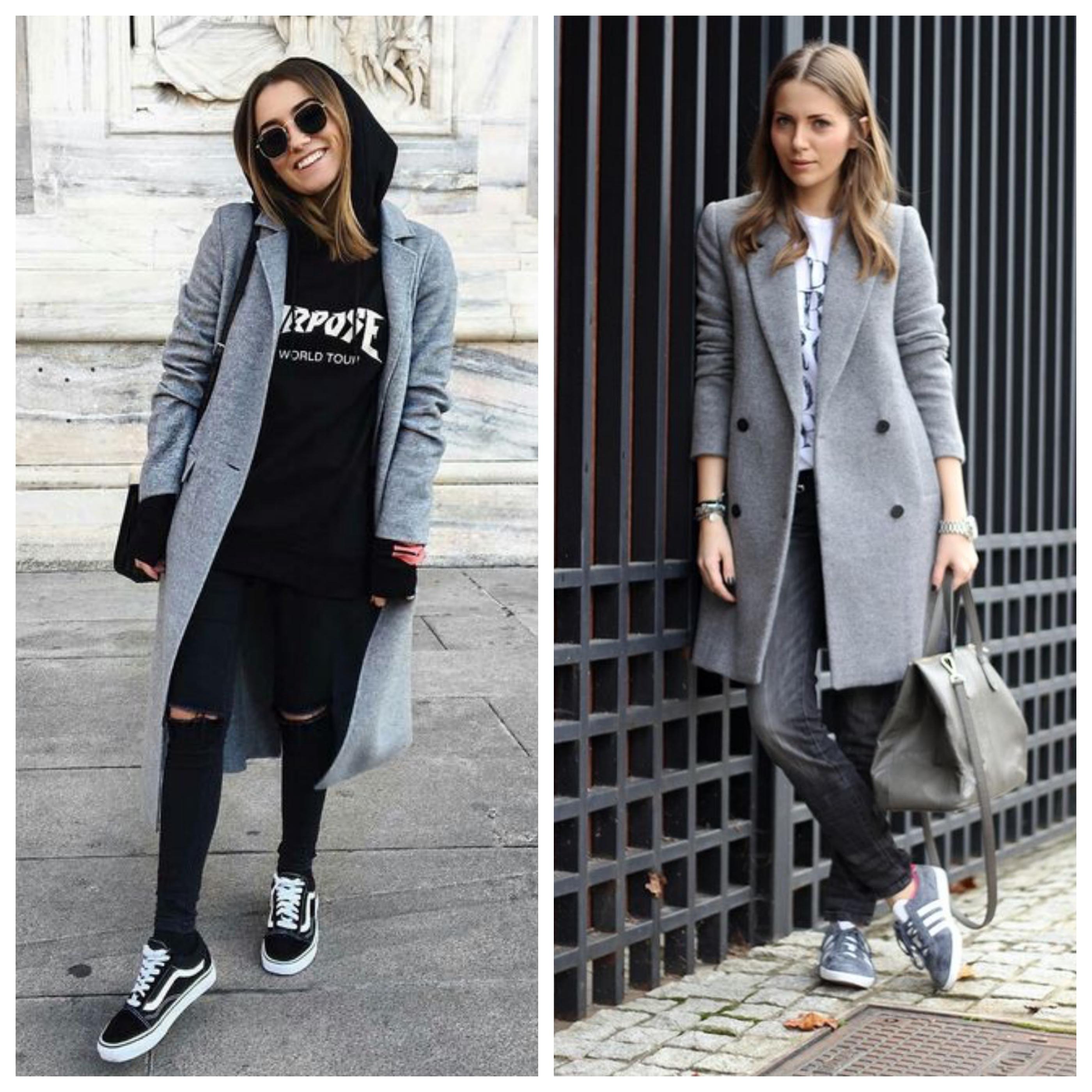 серое пальто с кроссовками