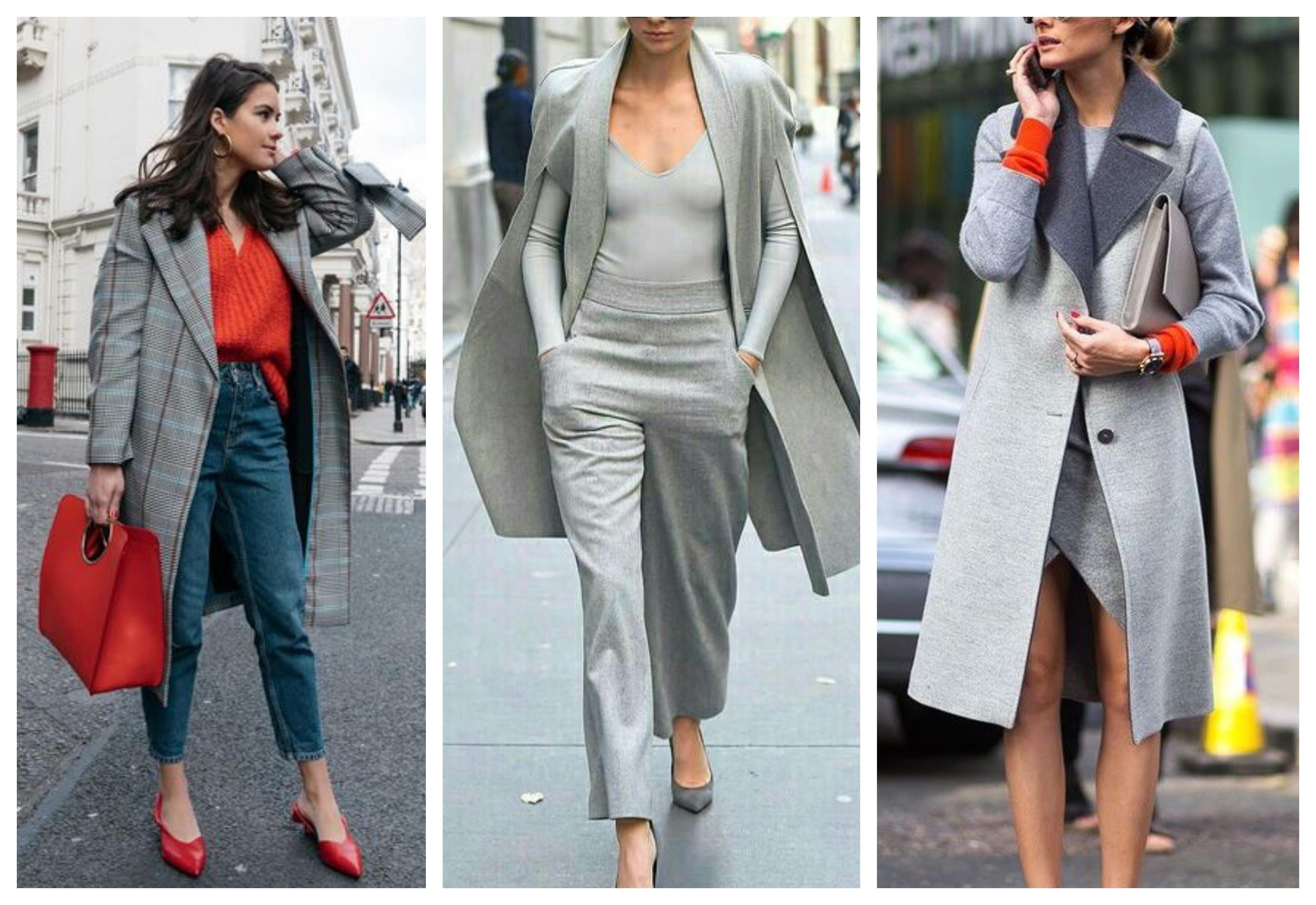Светло-серое женское пальто
