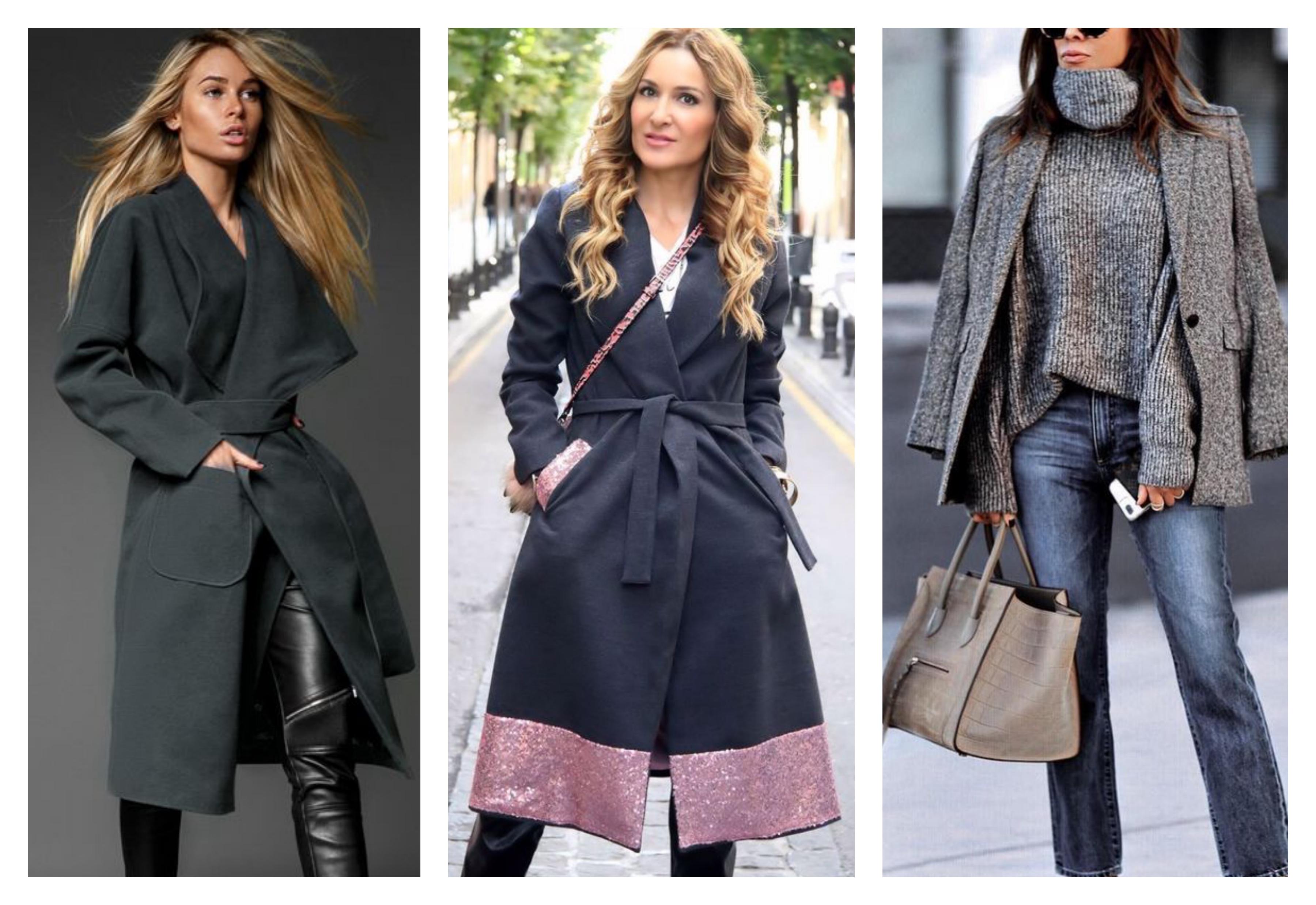Темно серое женское пальто