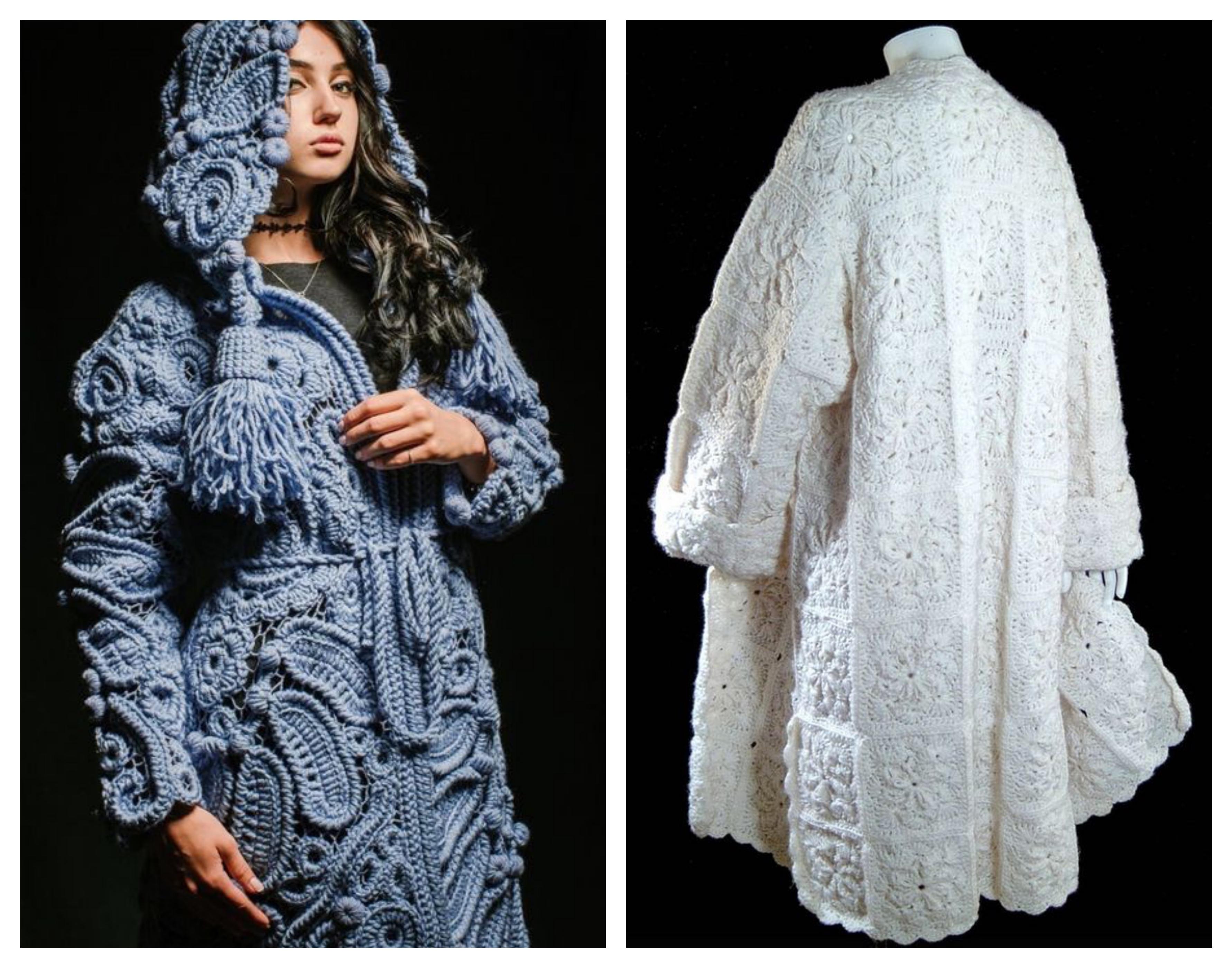 Вязаное пальто - ирландское кружево
