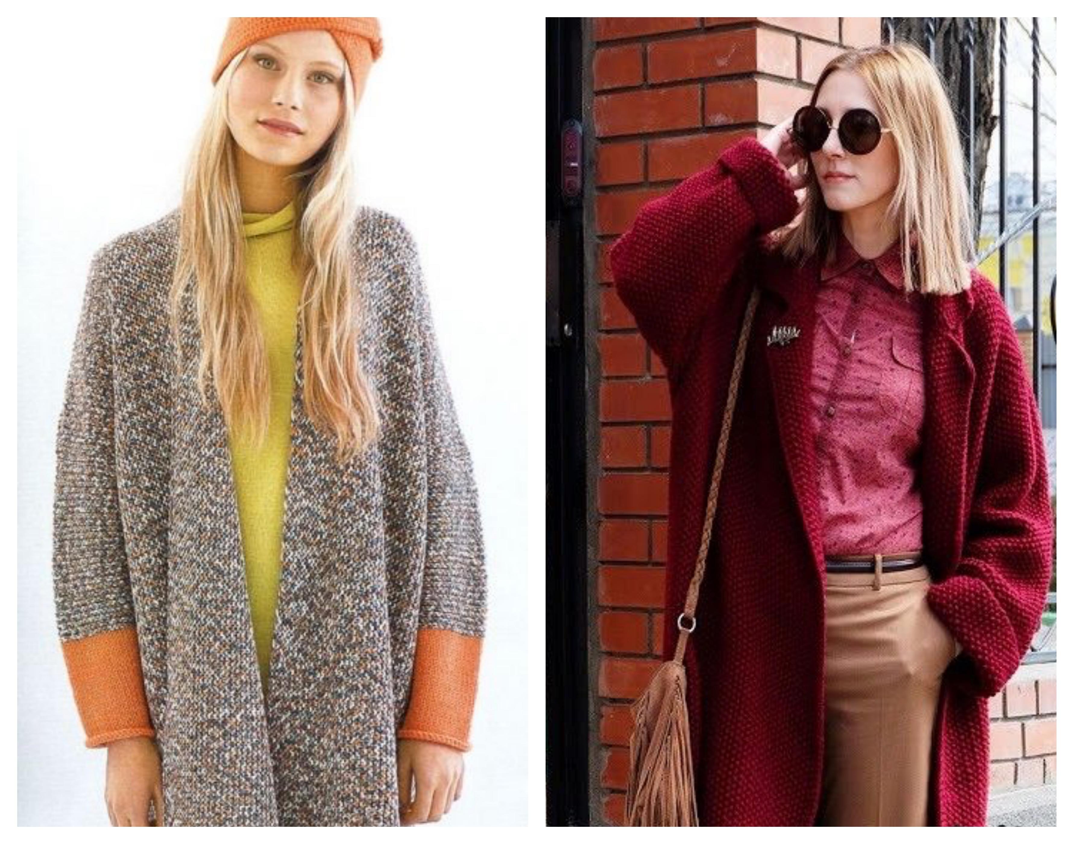 Кокон - Вязаное женское пальто