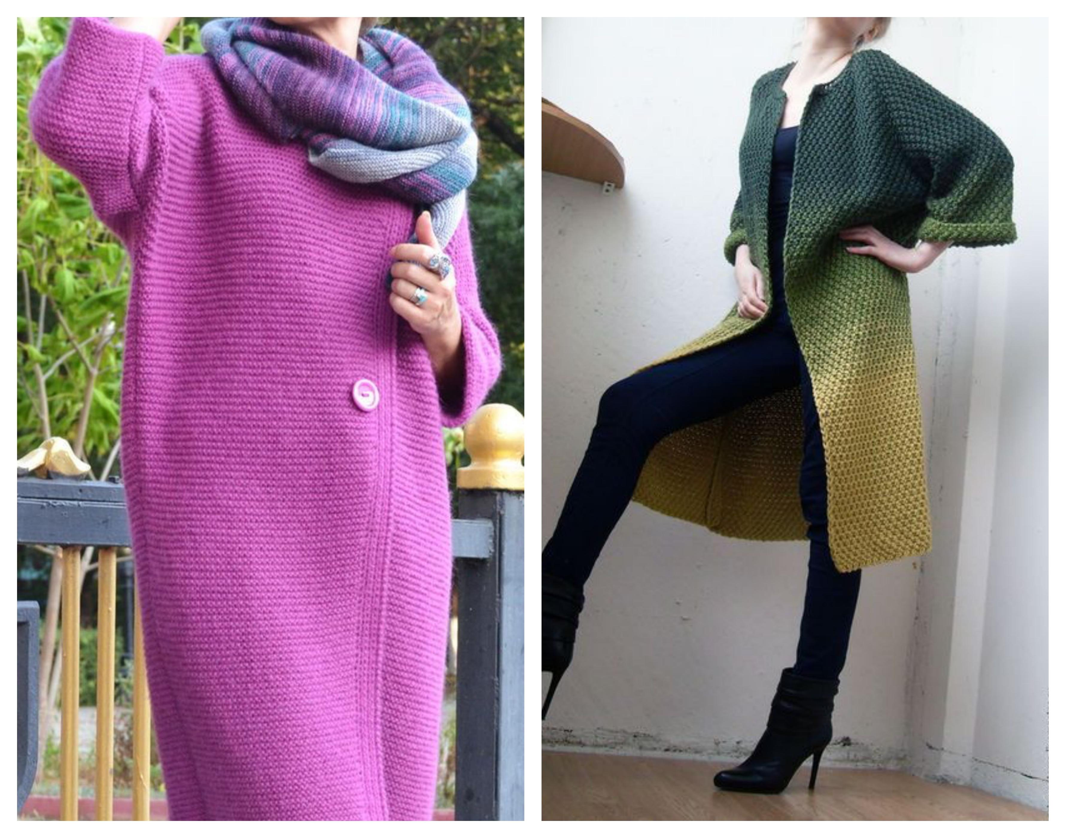 Вязаное пальто - платочная вязка