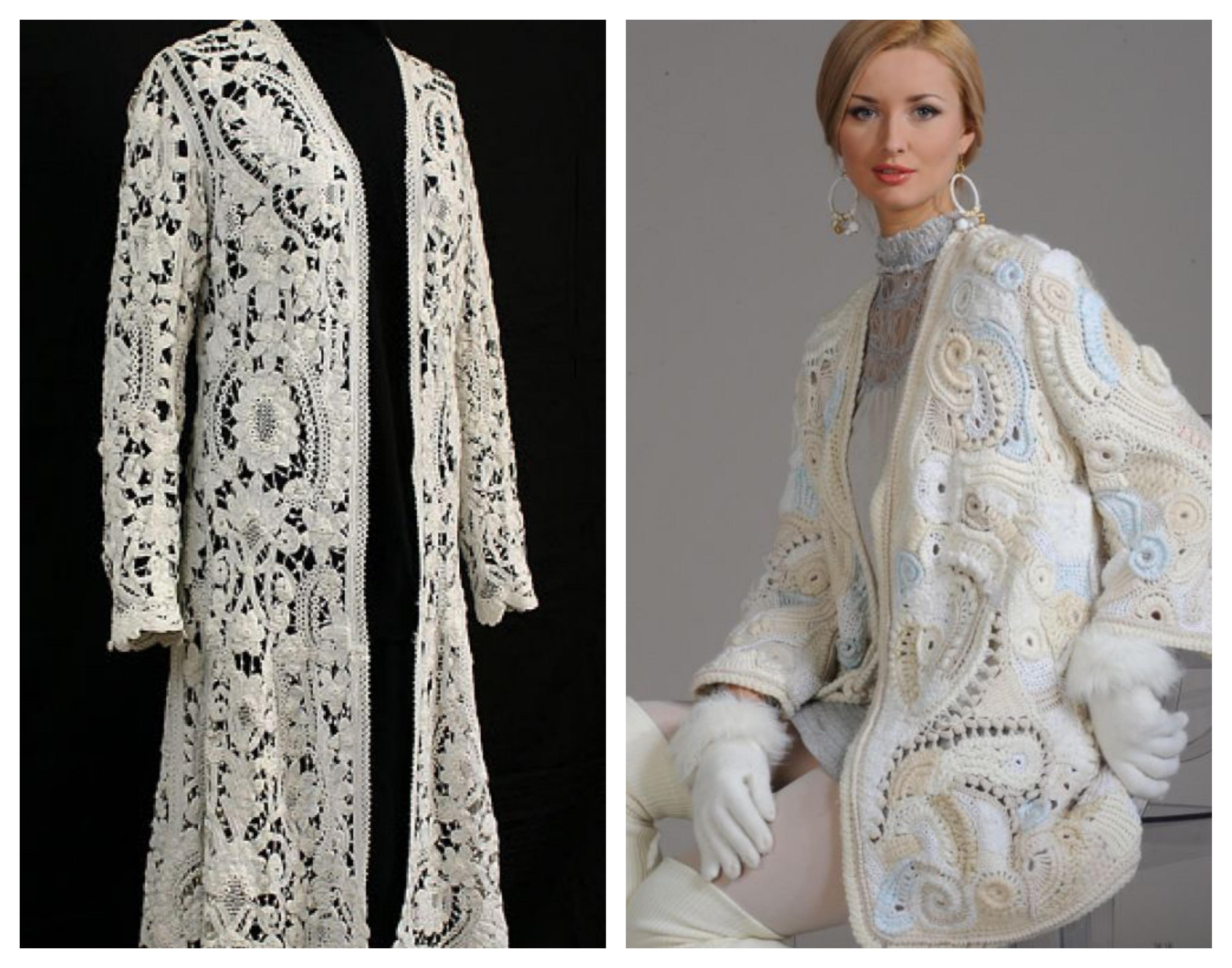 Вязаное пальто из иранского ткружева