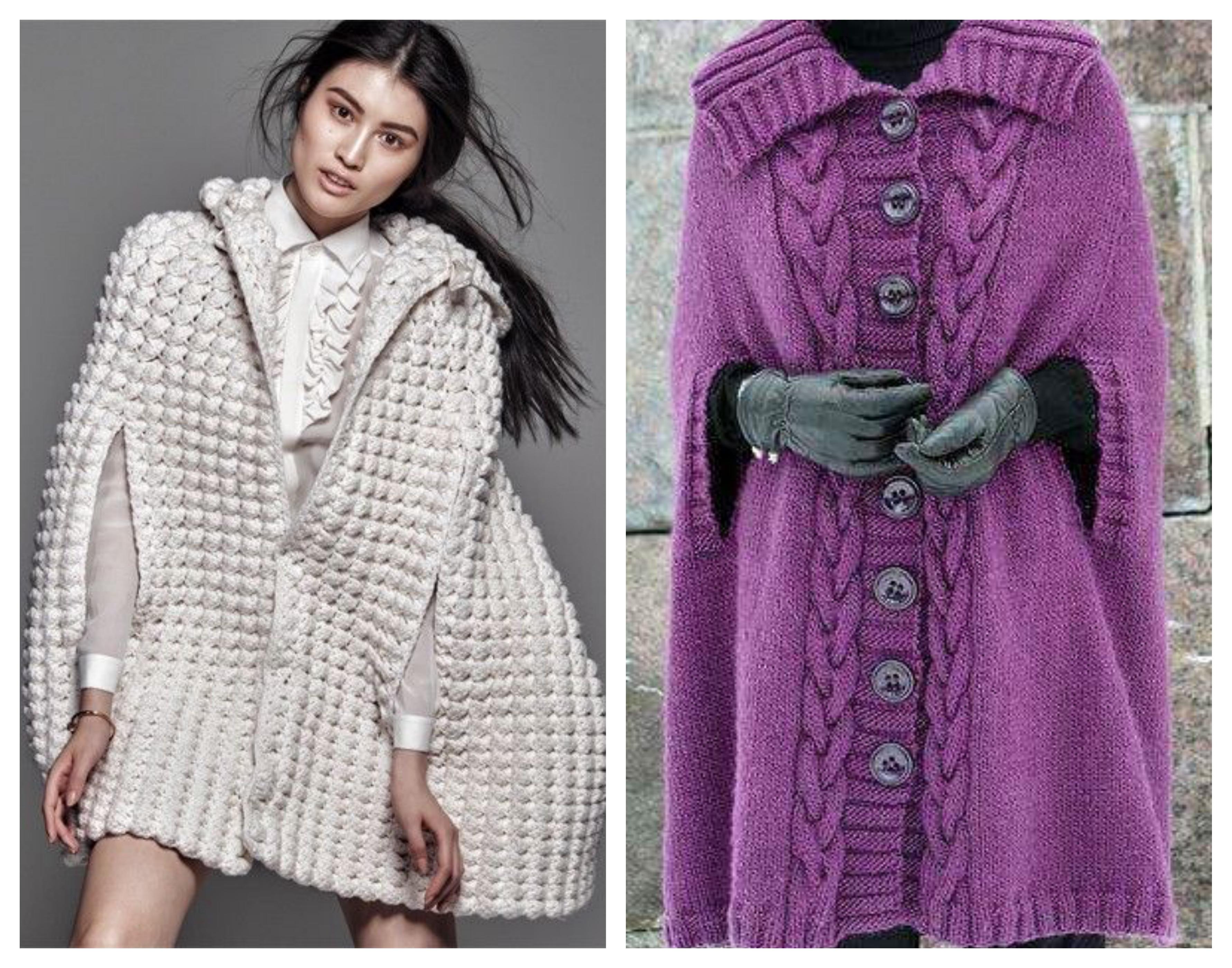 Вязаное пальто кейп