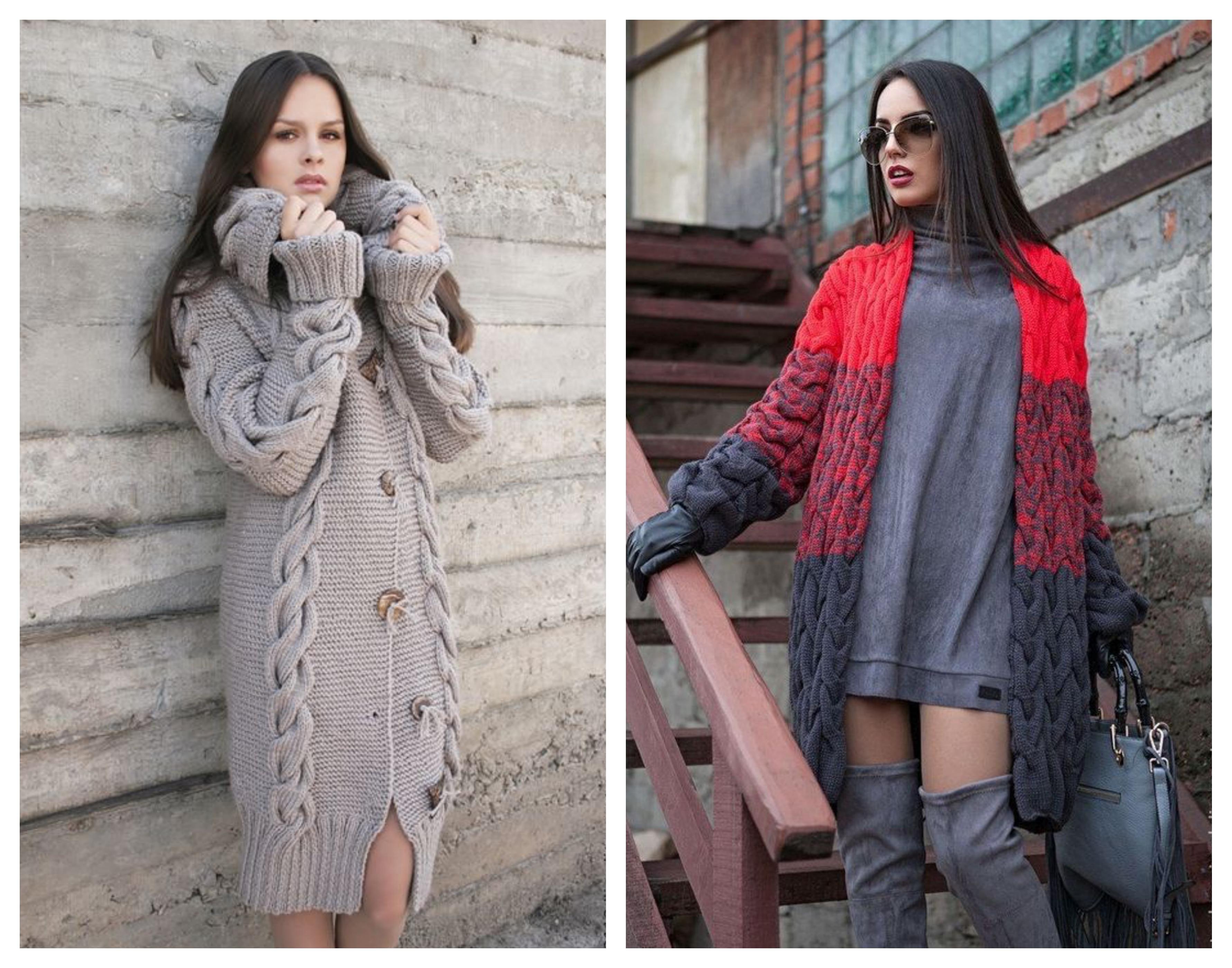 Вязаное пальто - косы