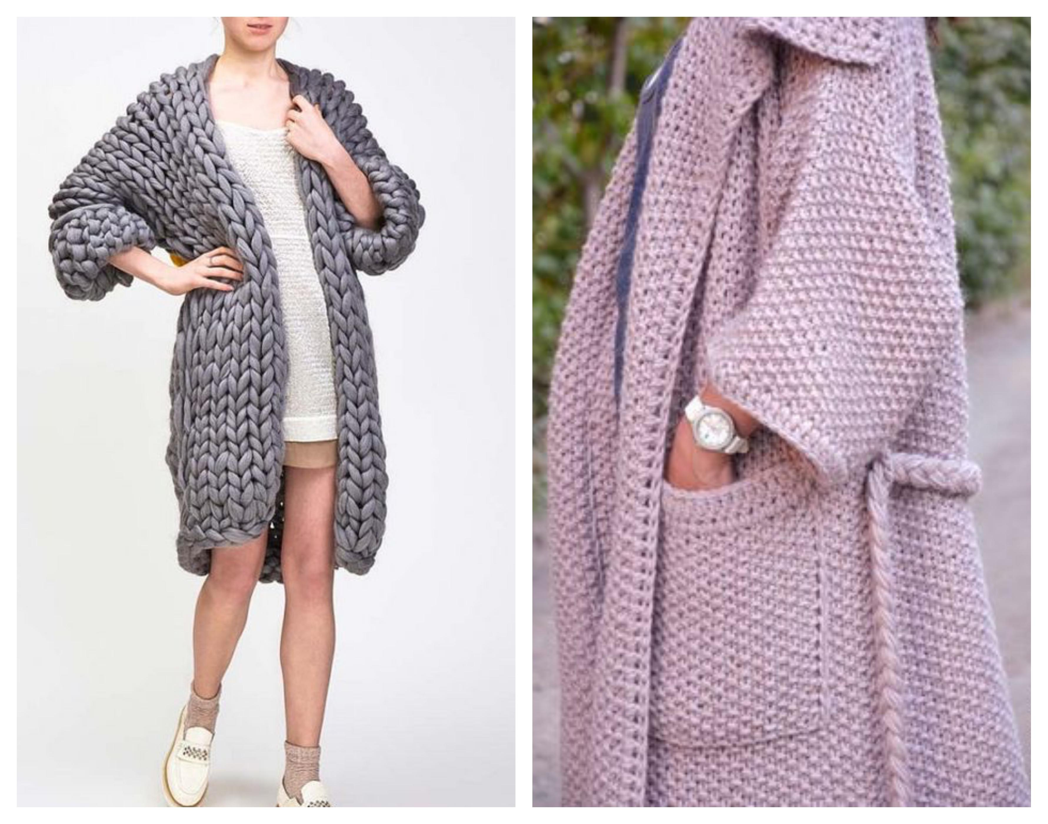 Вязаное пальто - крупная вязка