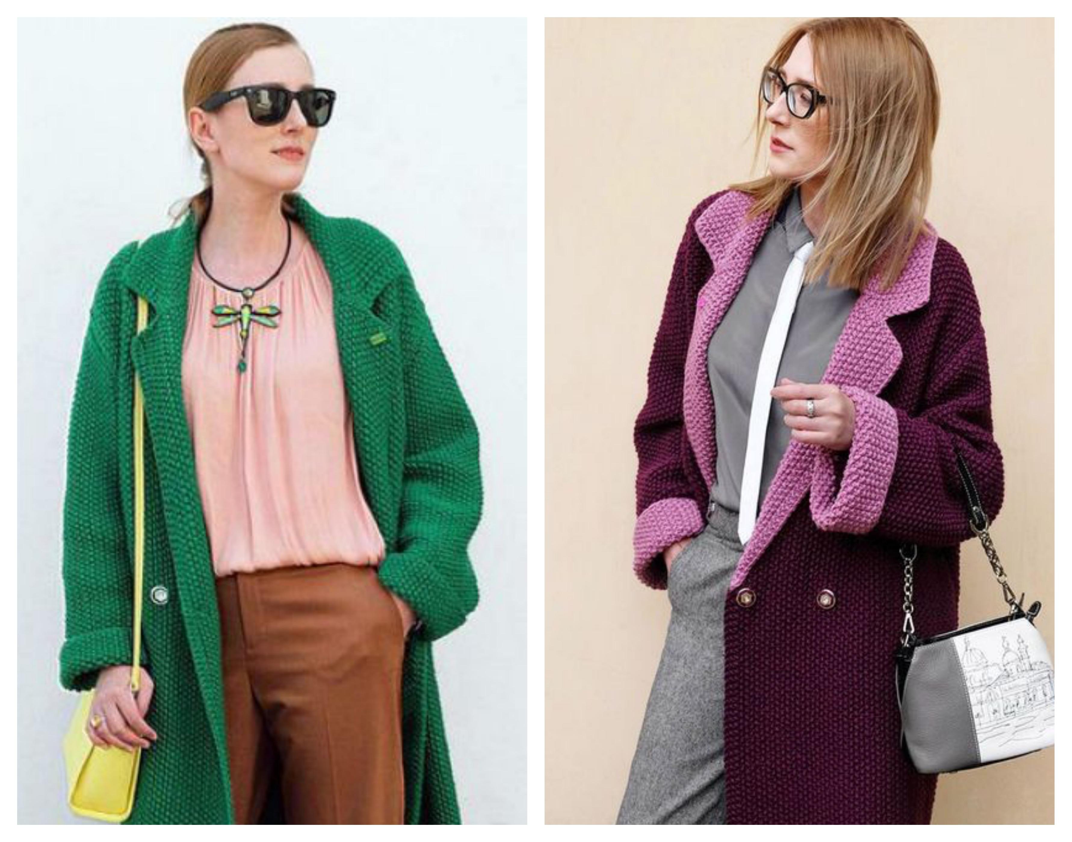 Вязаное женское пальто - платочная вязка
