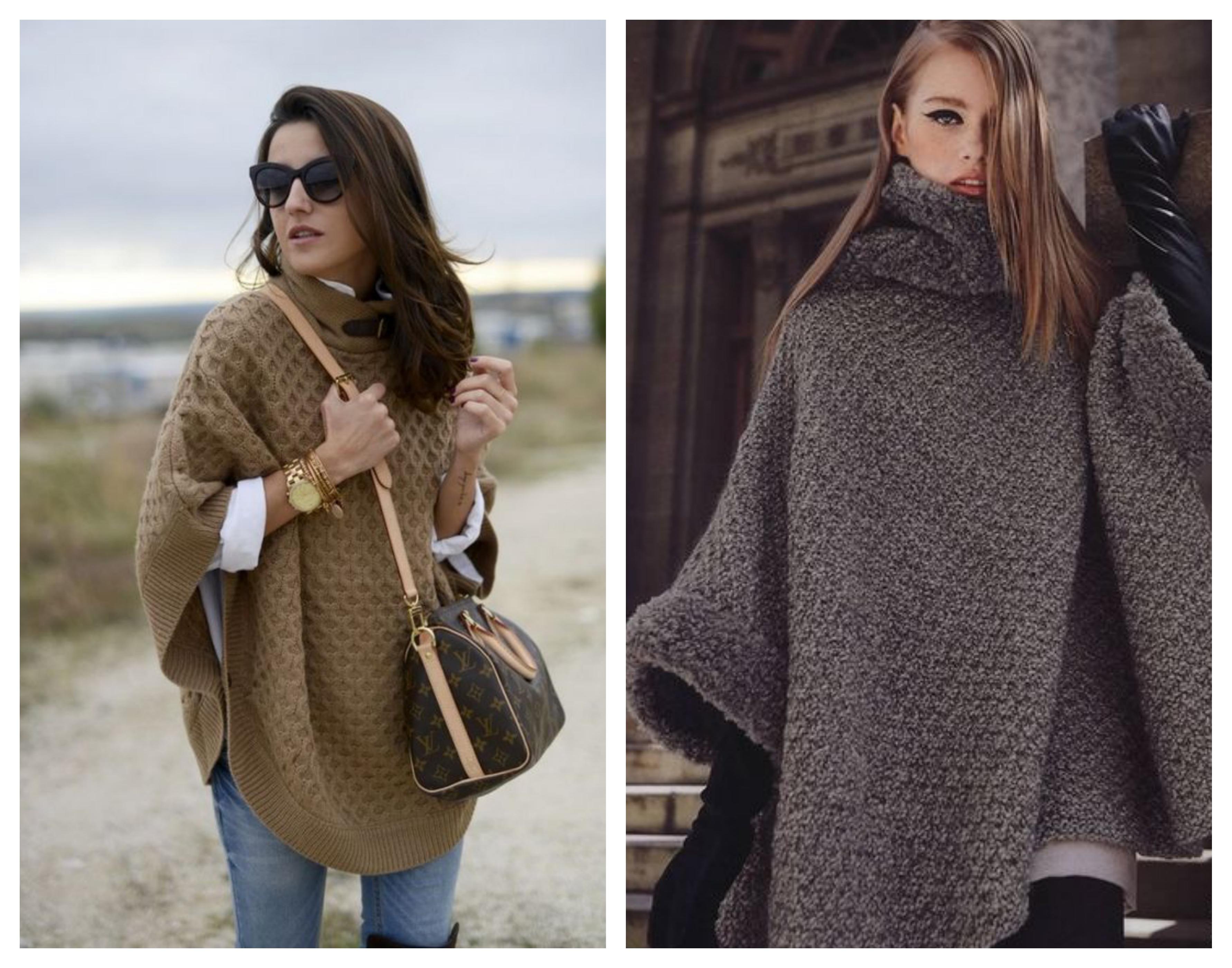Вязаное пальто пончо