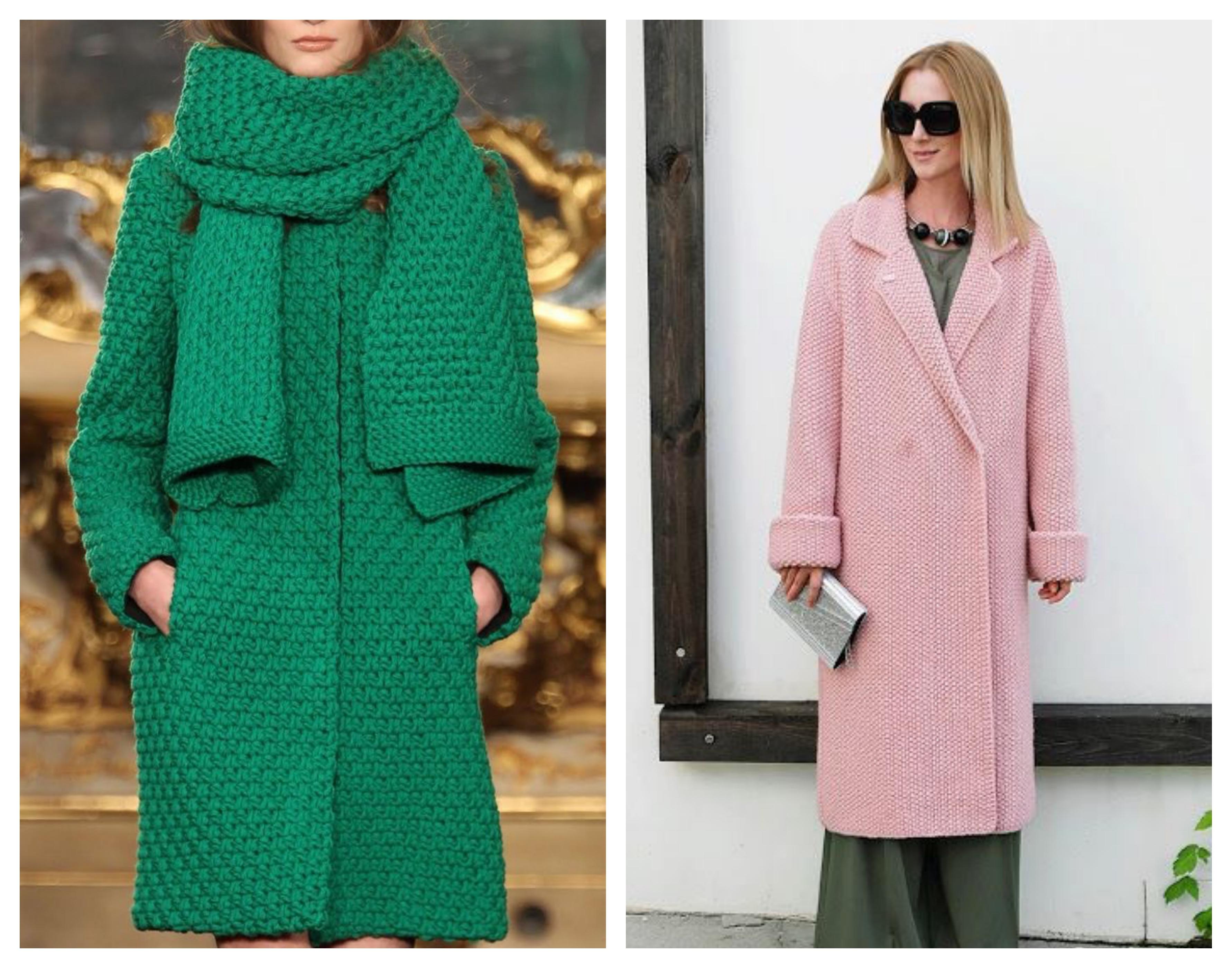 Прямое вязаное женское пальто