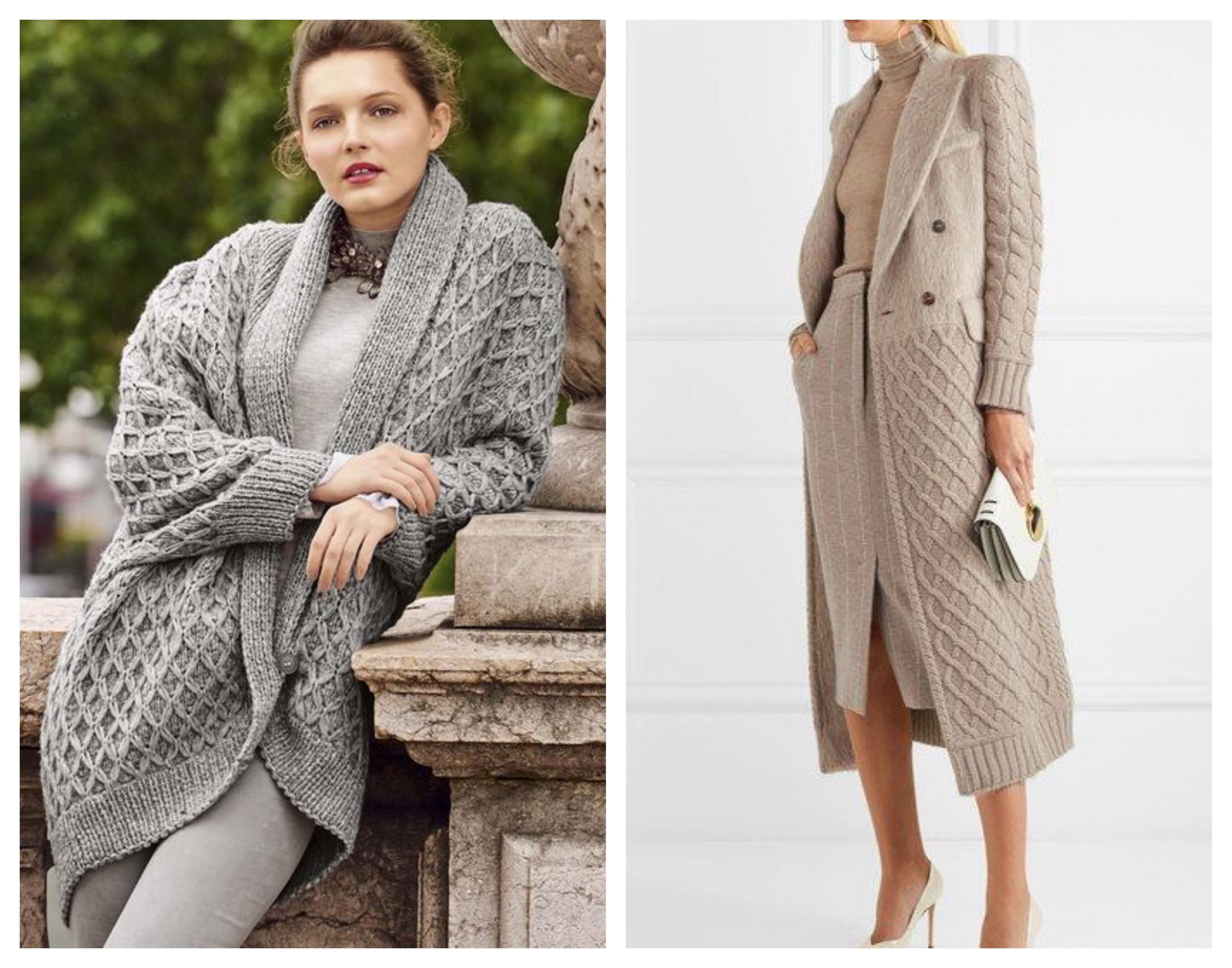 Вязаное пальто - ромбы
