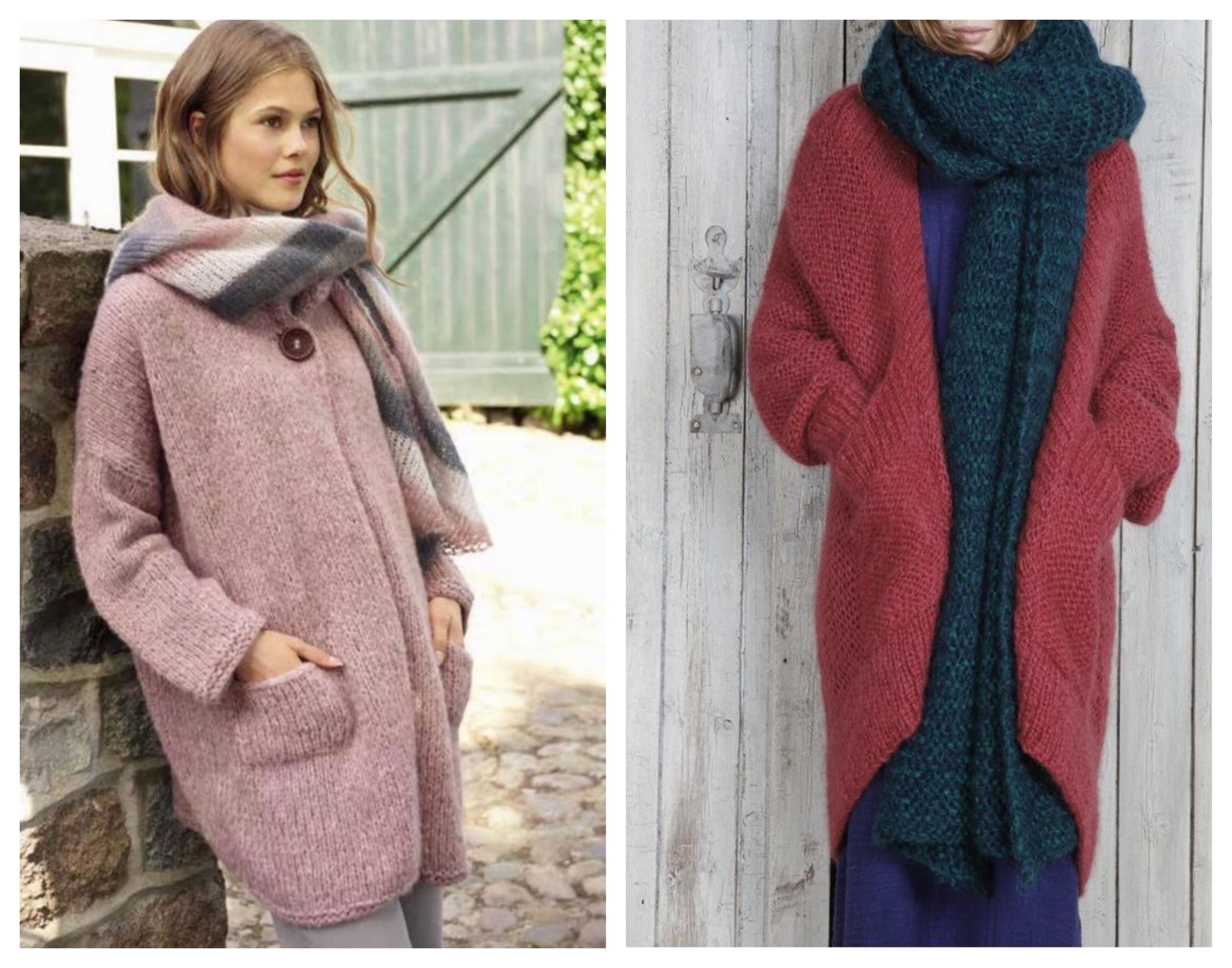 Вязаное розовое пальто