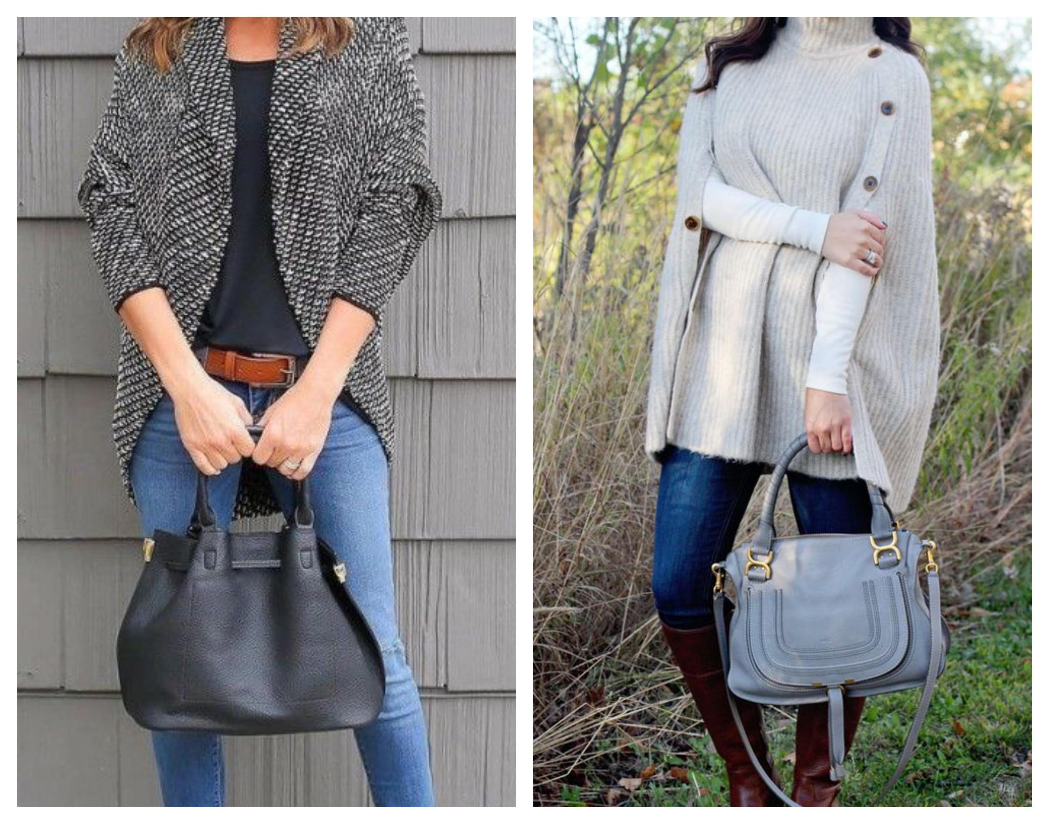 Вязаное пальто с джинсами
