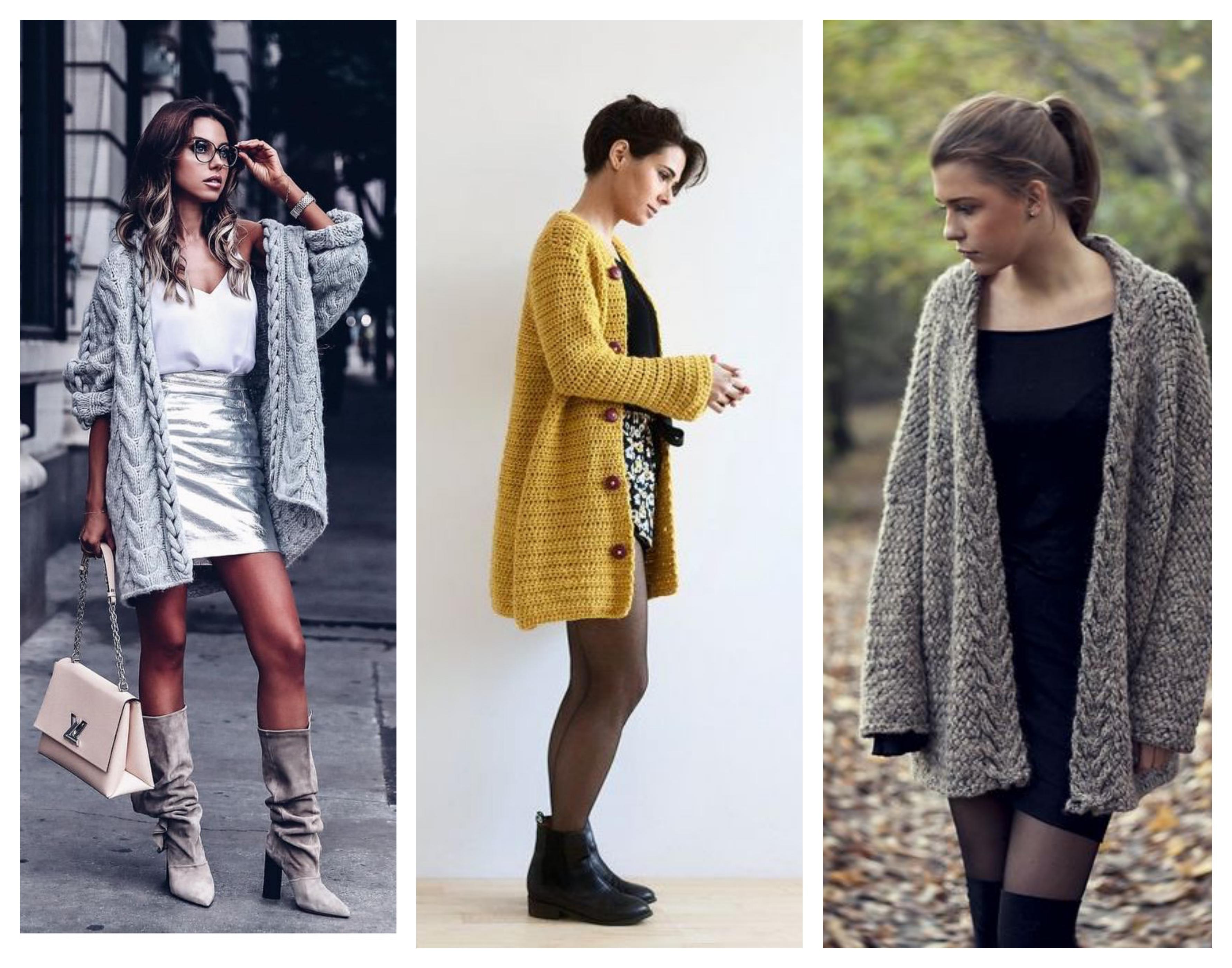 Вязаное пальто с юбкой и платьем