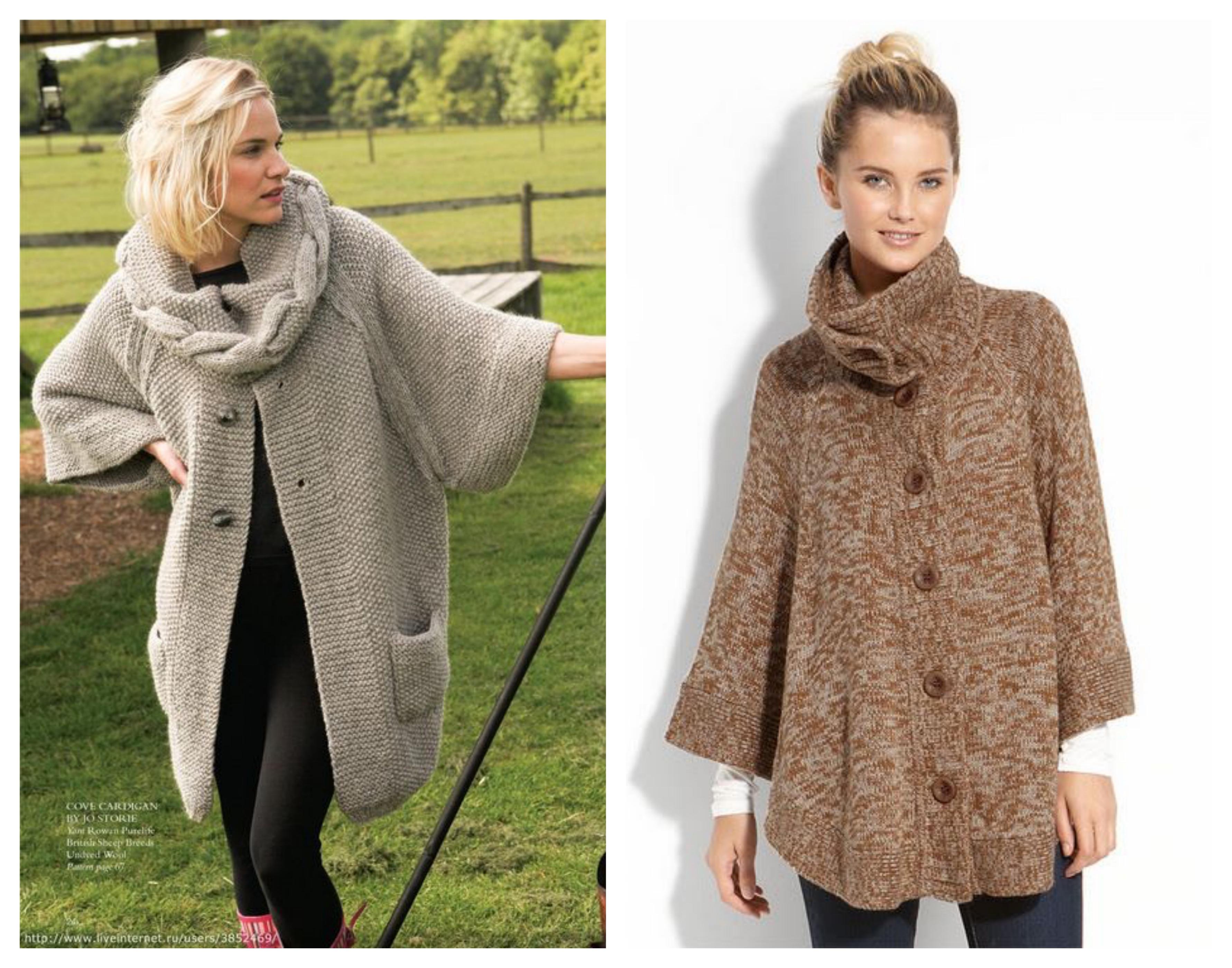 Вязаное пальто с вязаным воротником