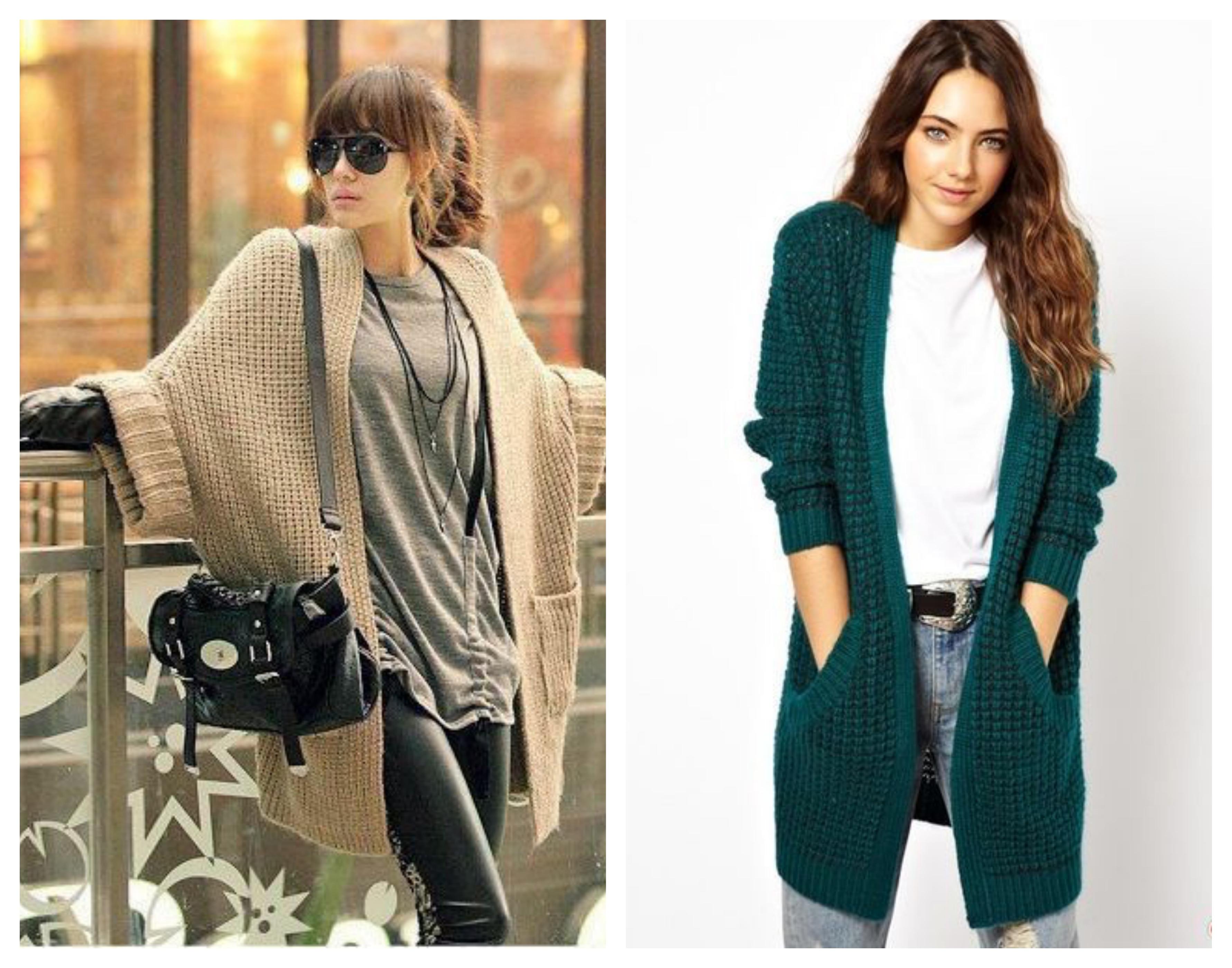 Вязаное пальто средней длины