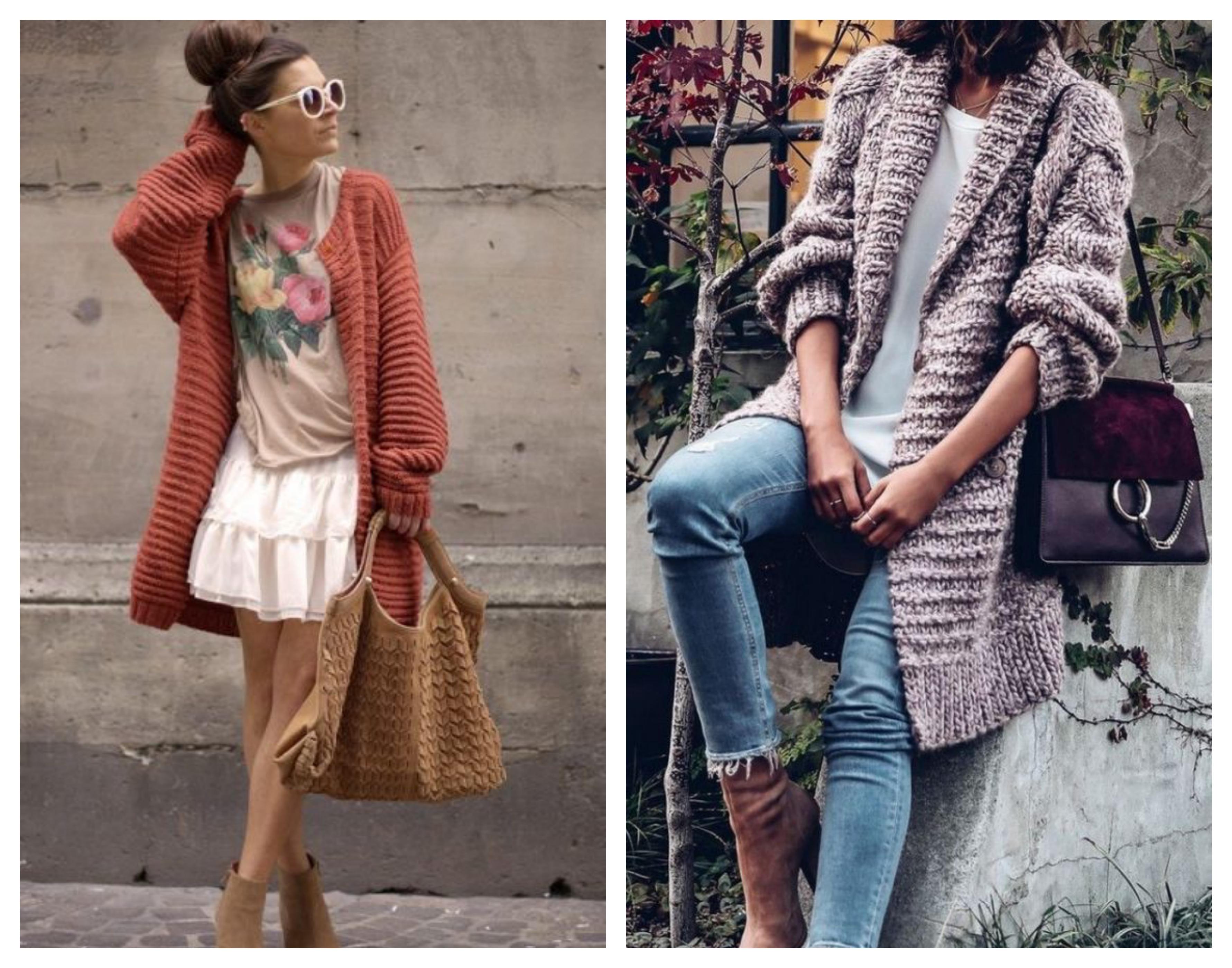 Вязаное стильное женское пальто