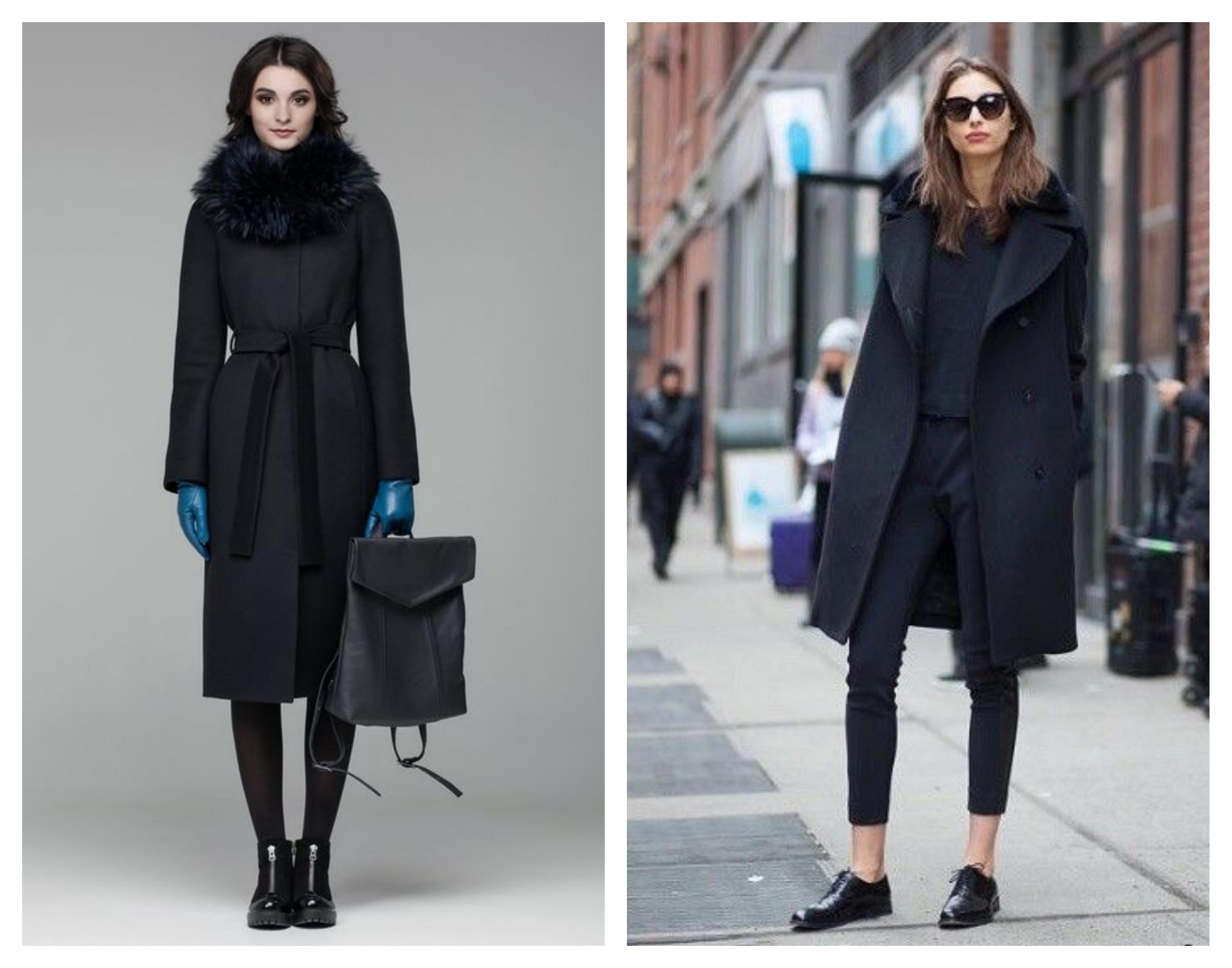 Зимнее женское черное пальто