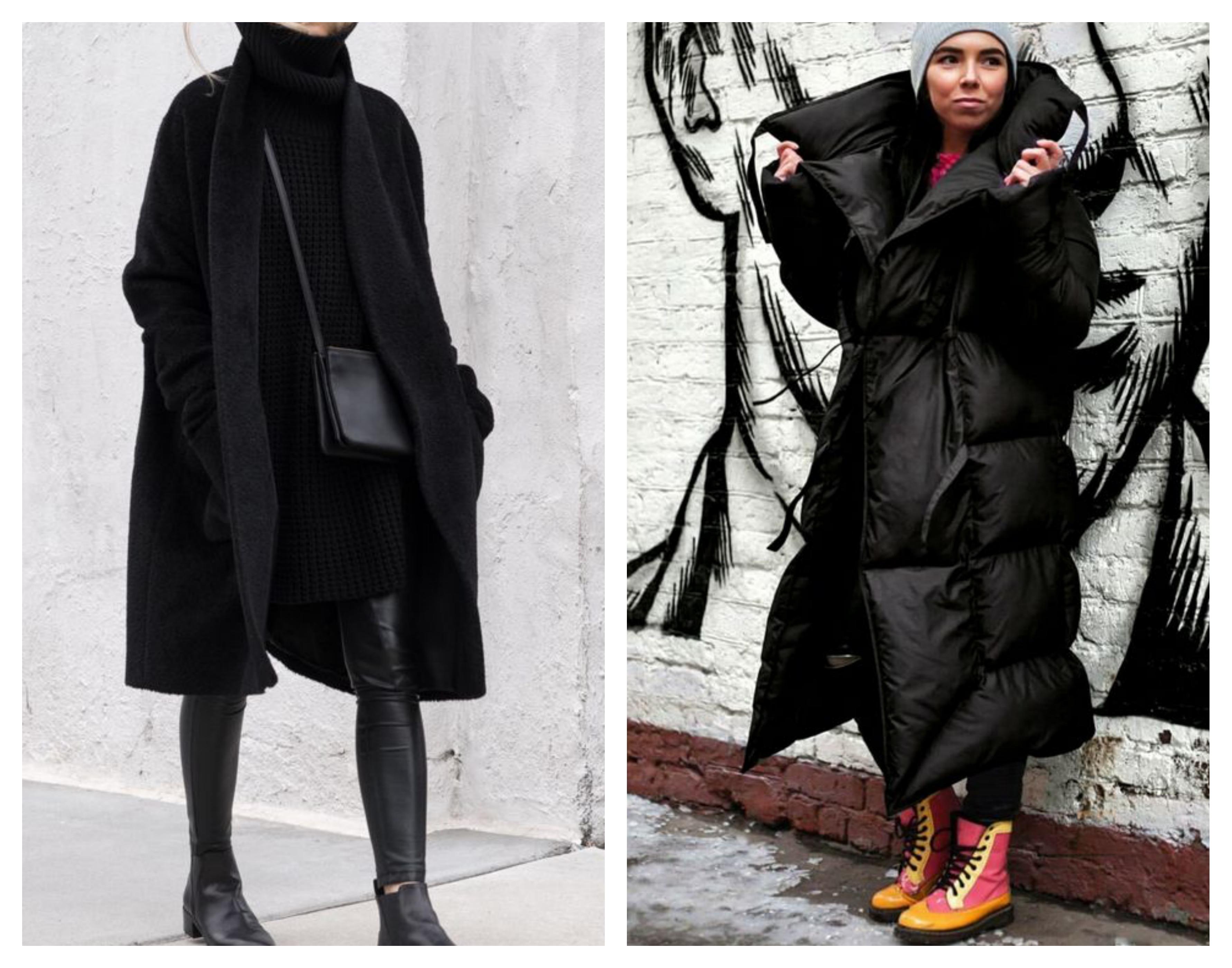 Черное зимнее женское пальто
