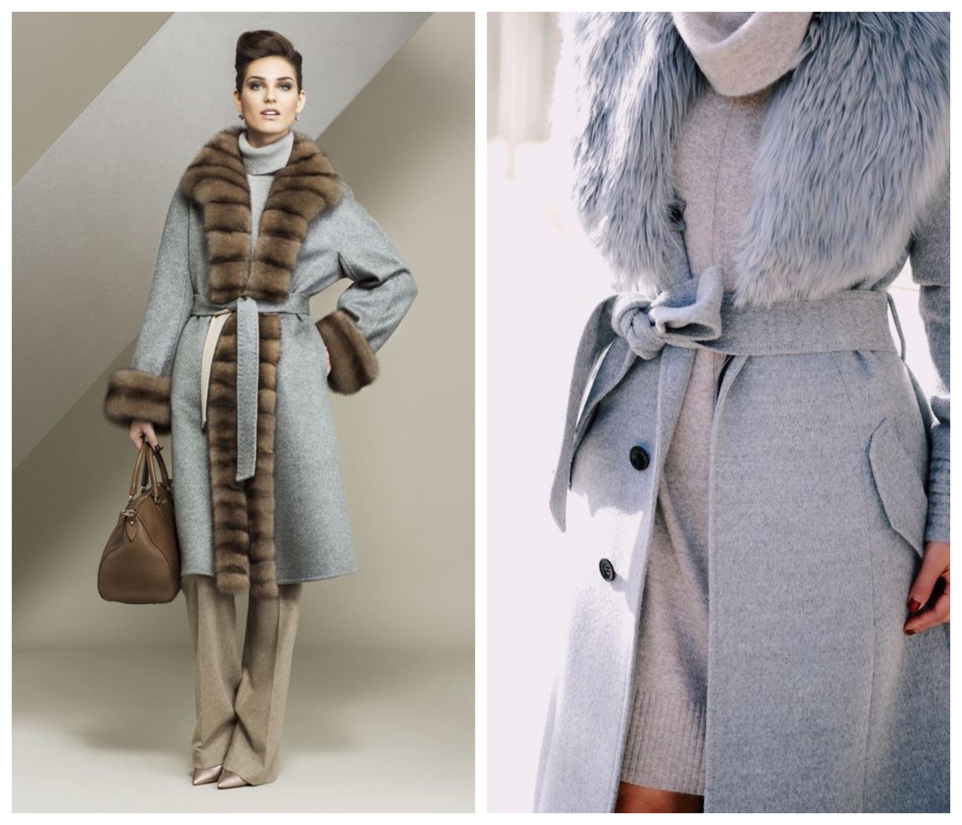 Кашемировое зимнее женское пальто