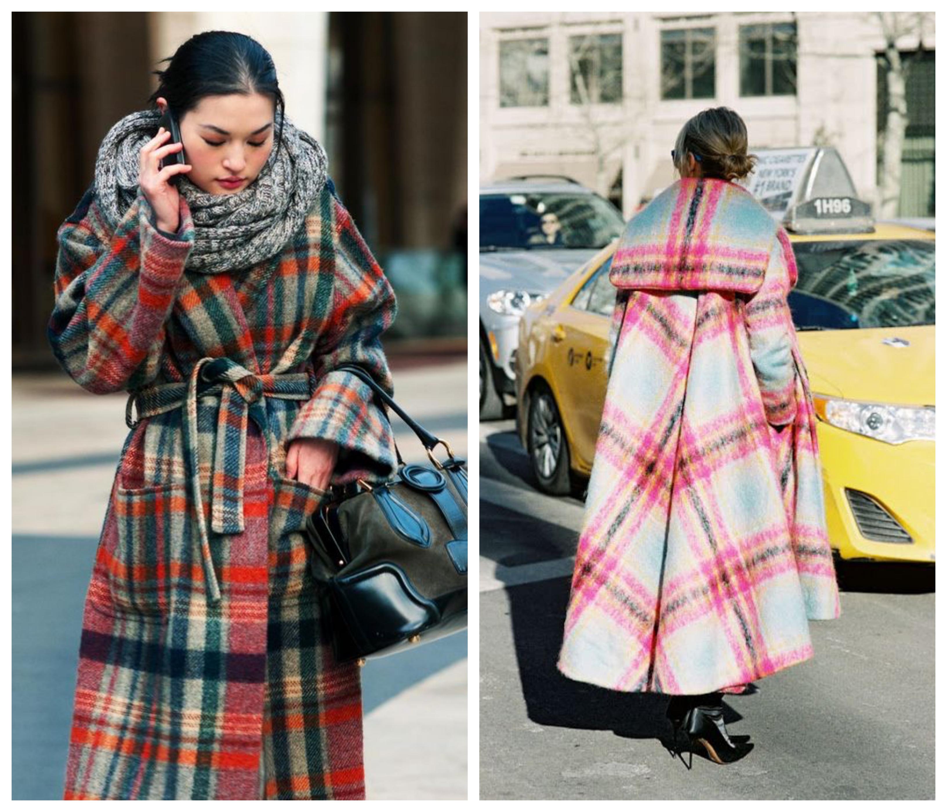 Зимнее женское пальто в клетку