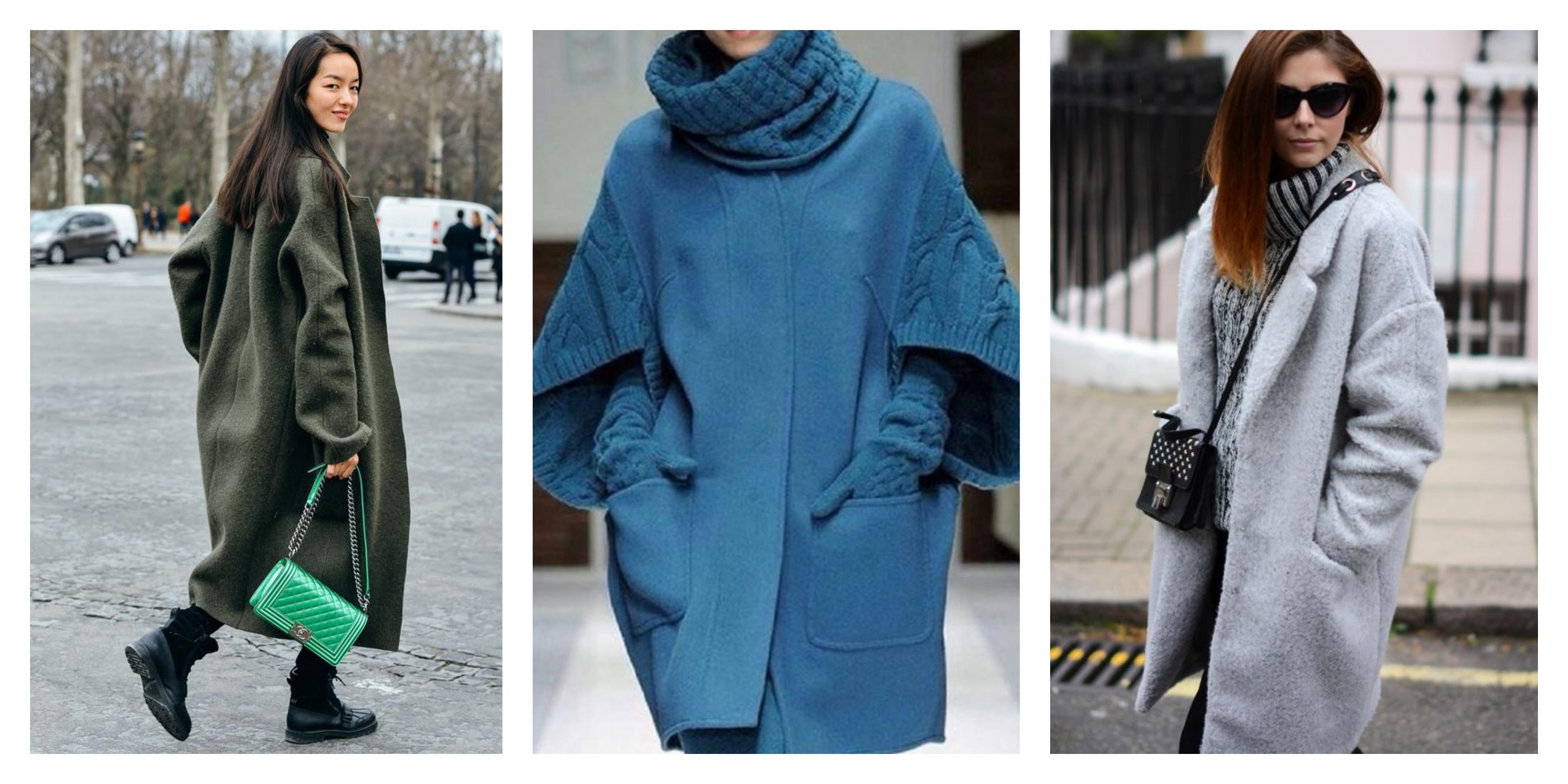 Зимнее женское пальто кокон
