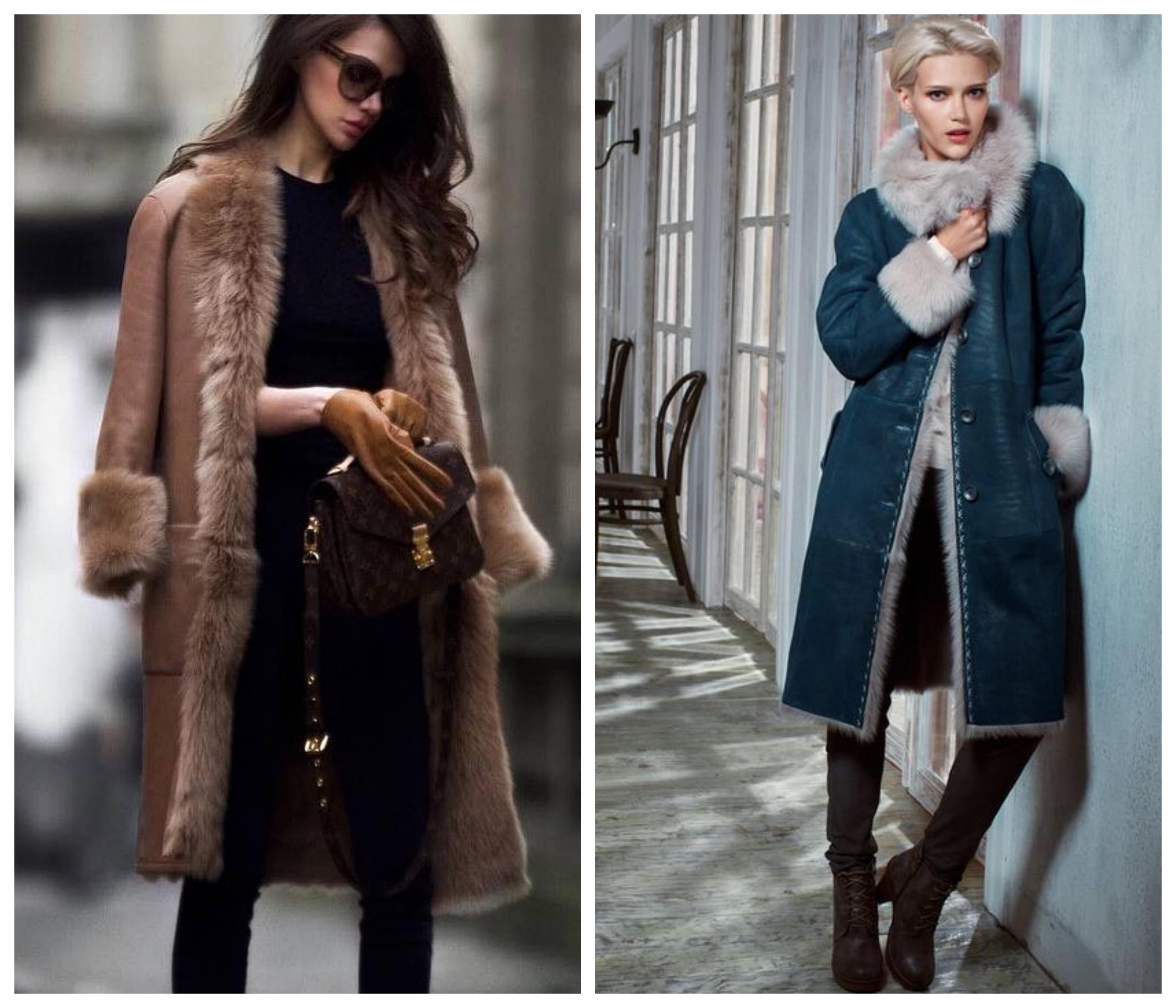 Кожаное зимнее женское пальто
