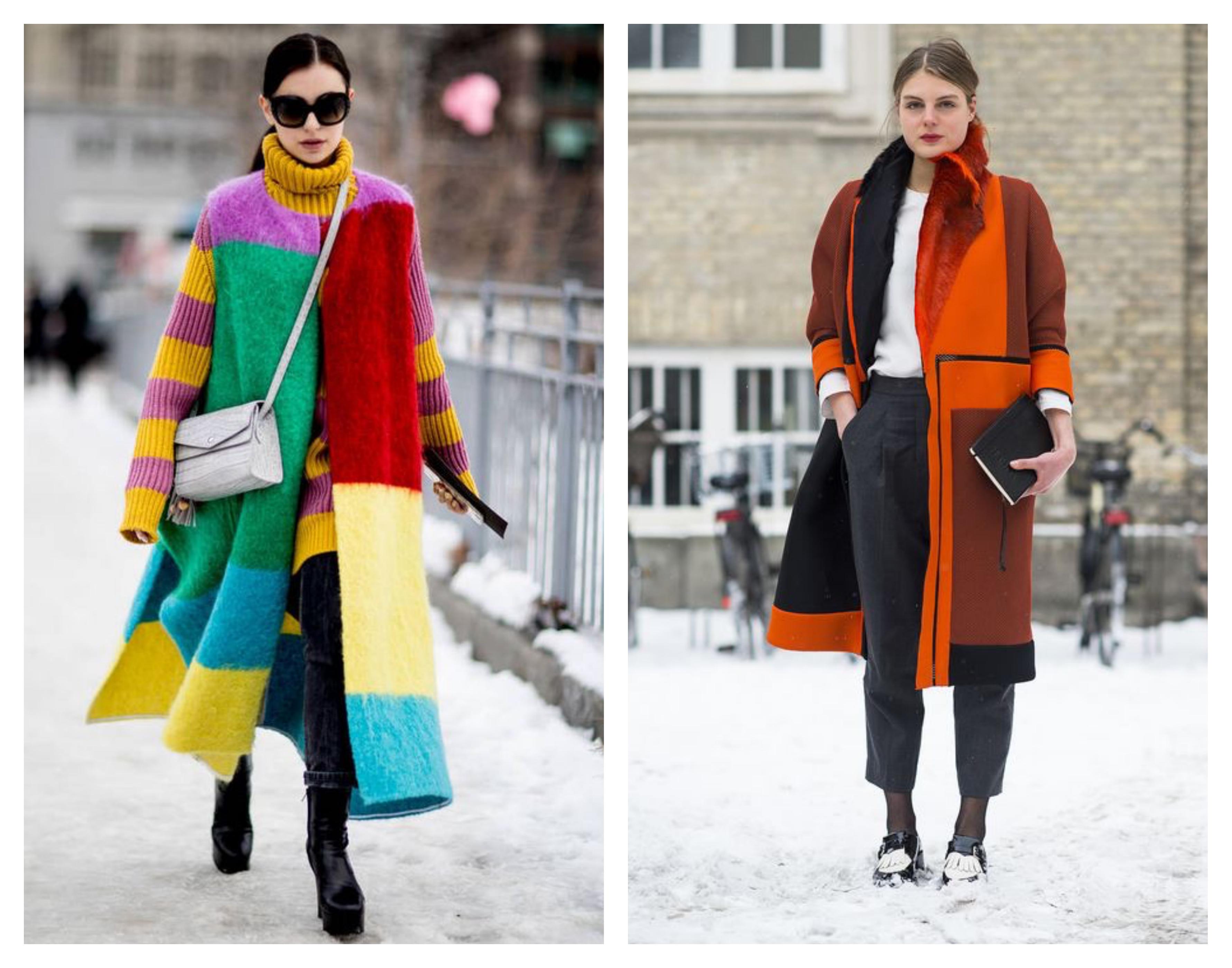 Зимнее женское пальто - яркий принт