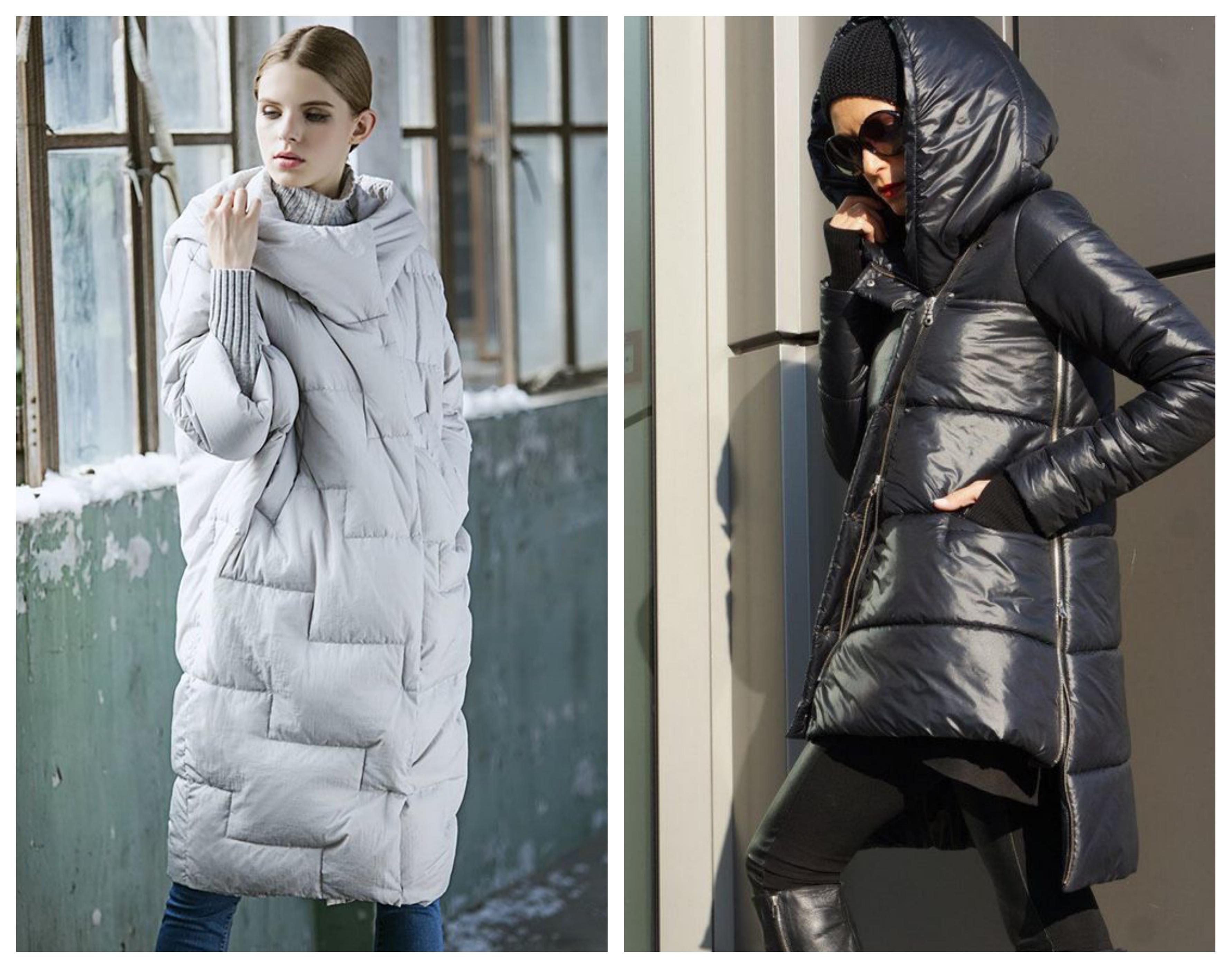 Стеганое зимнее женское пальто