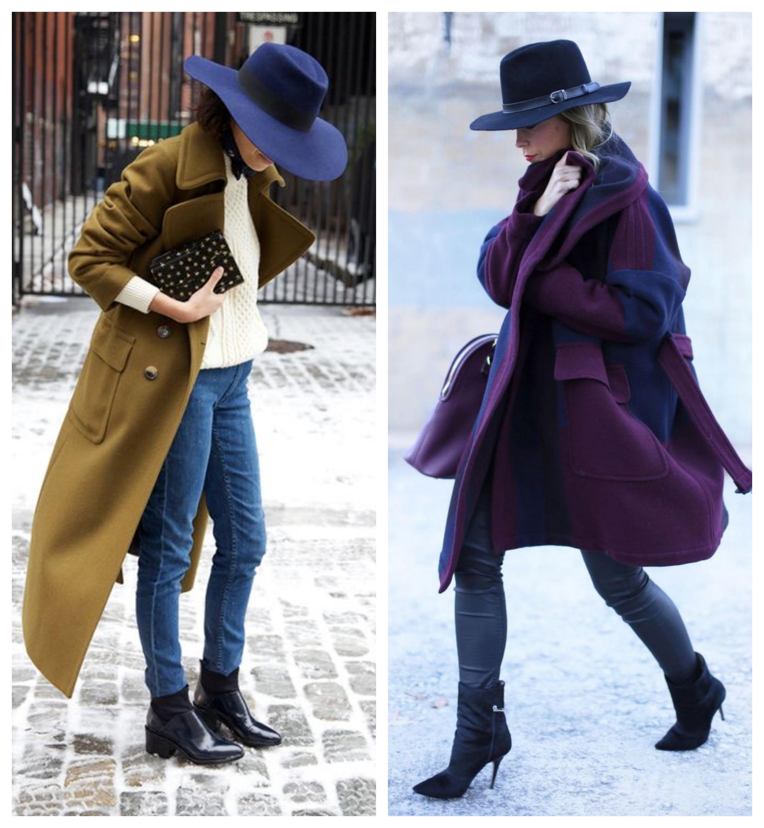 Шляпа и зимнее женское пальто