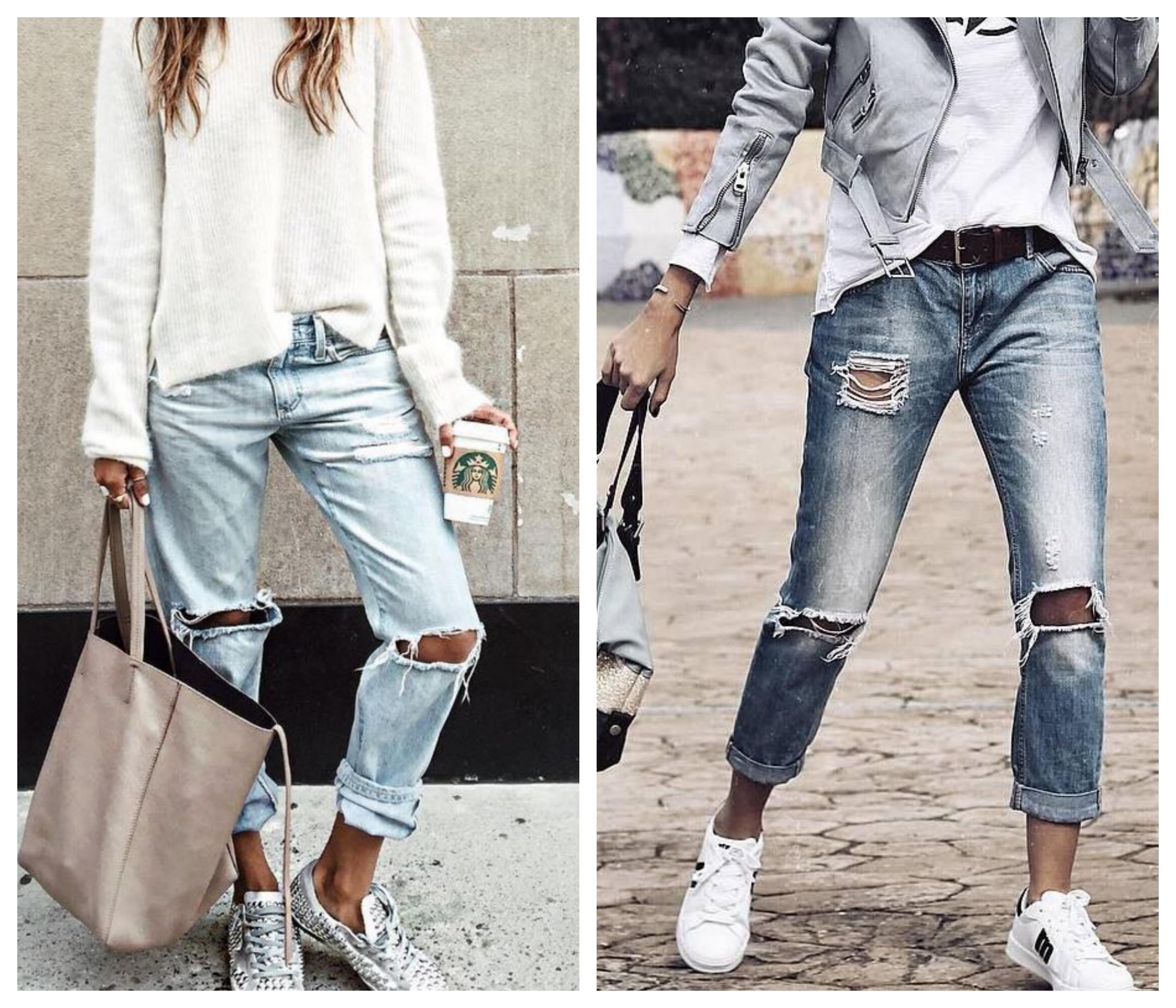 Рваные на коленях джинсы
