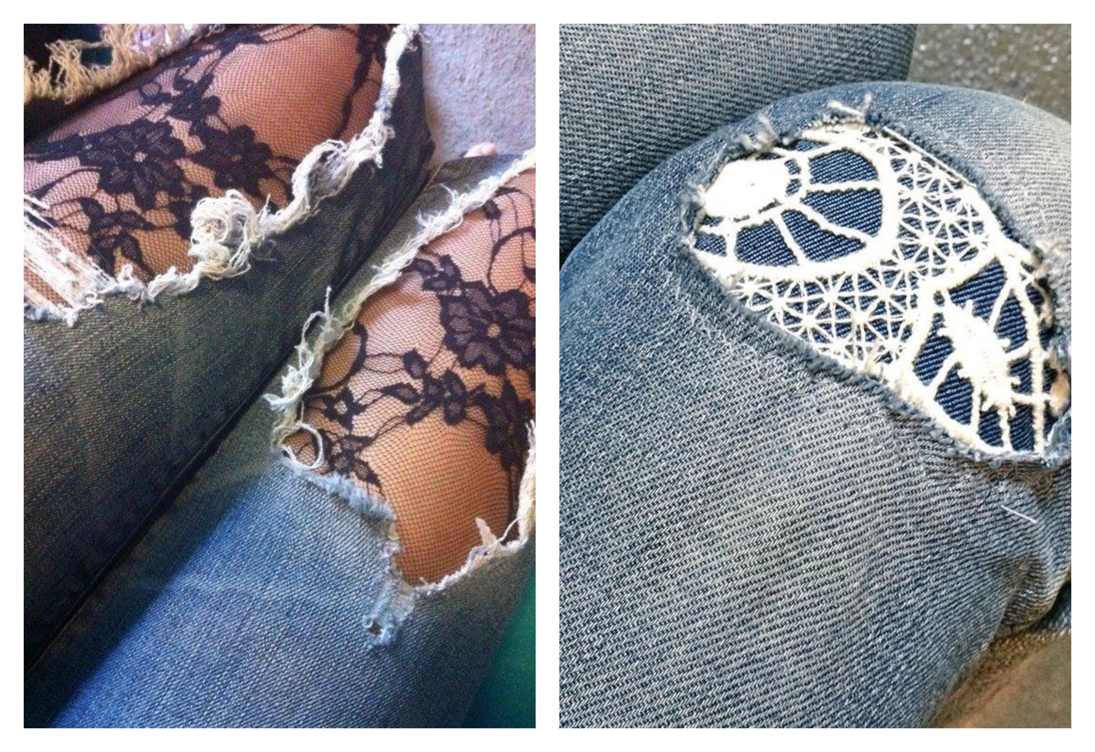 Рваные джинсы с кружевом в дырках