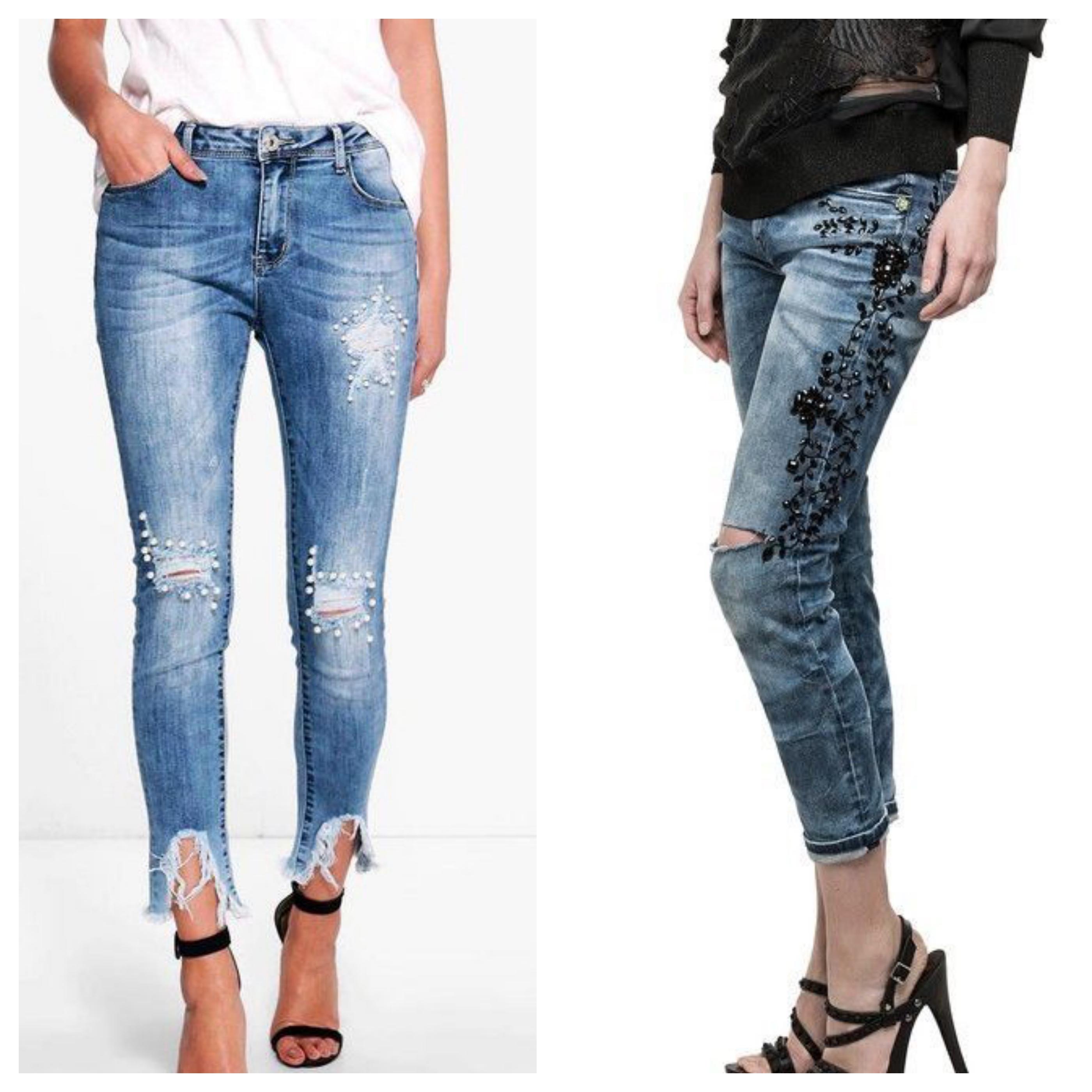 Рваные джинсы с бусинами