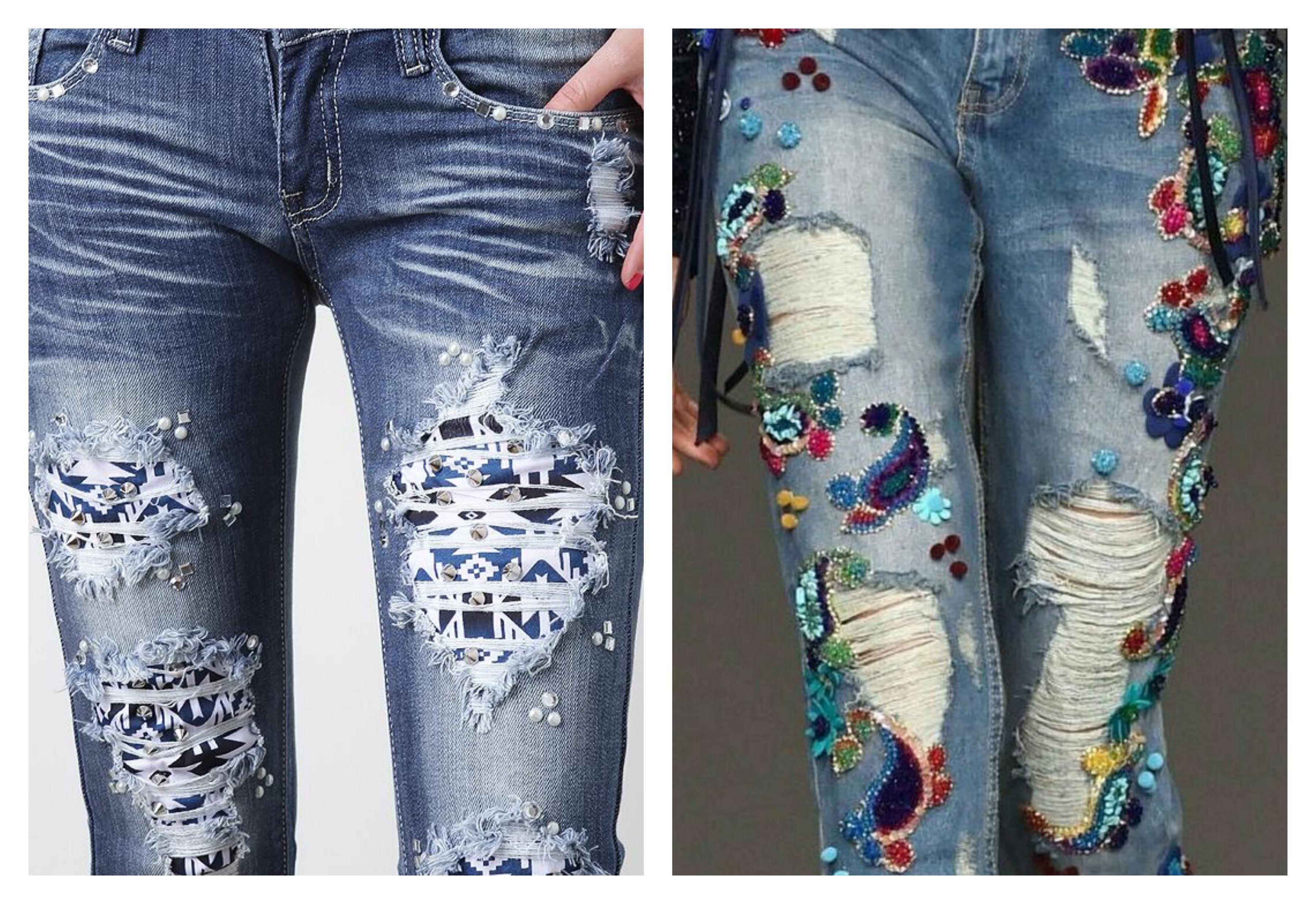 Рваные джинсы расшитые стразами