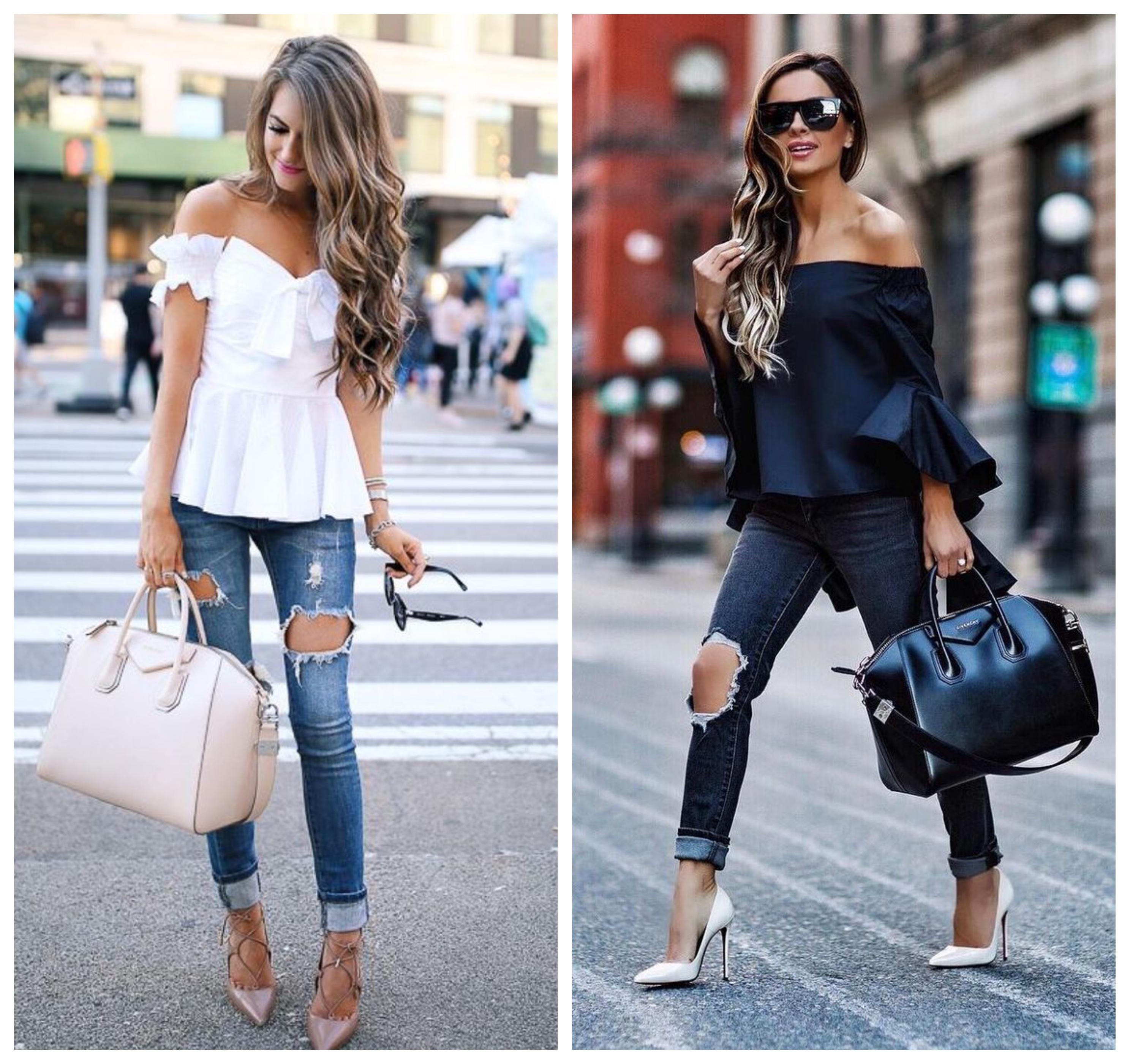 Рваные джинсы - стильный лук