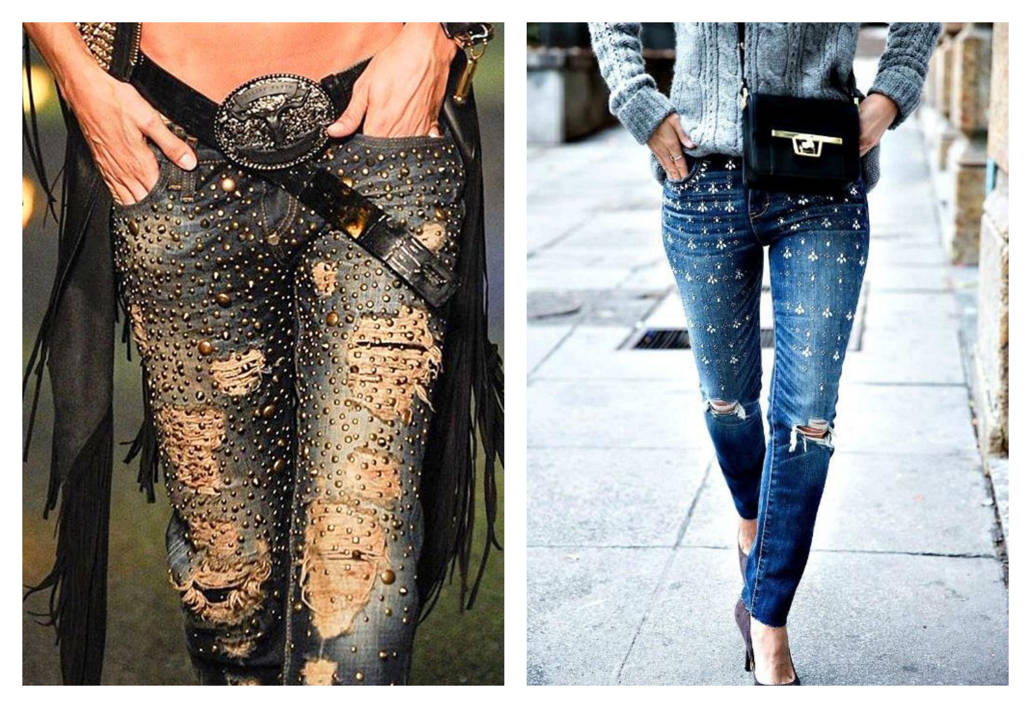 Рваные джинсы со стразами