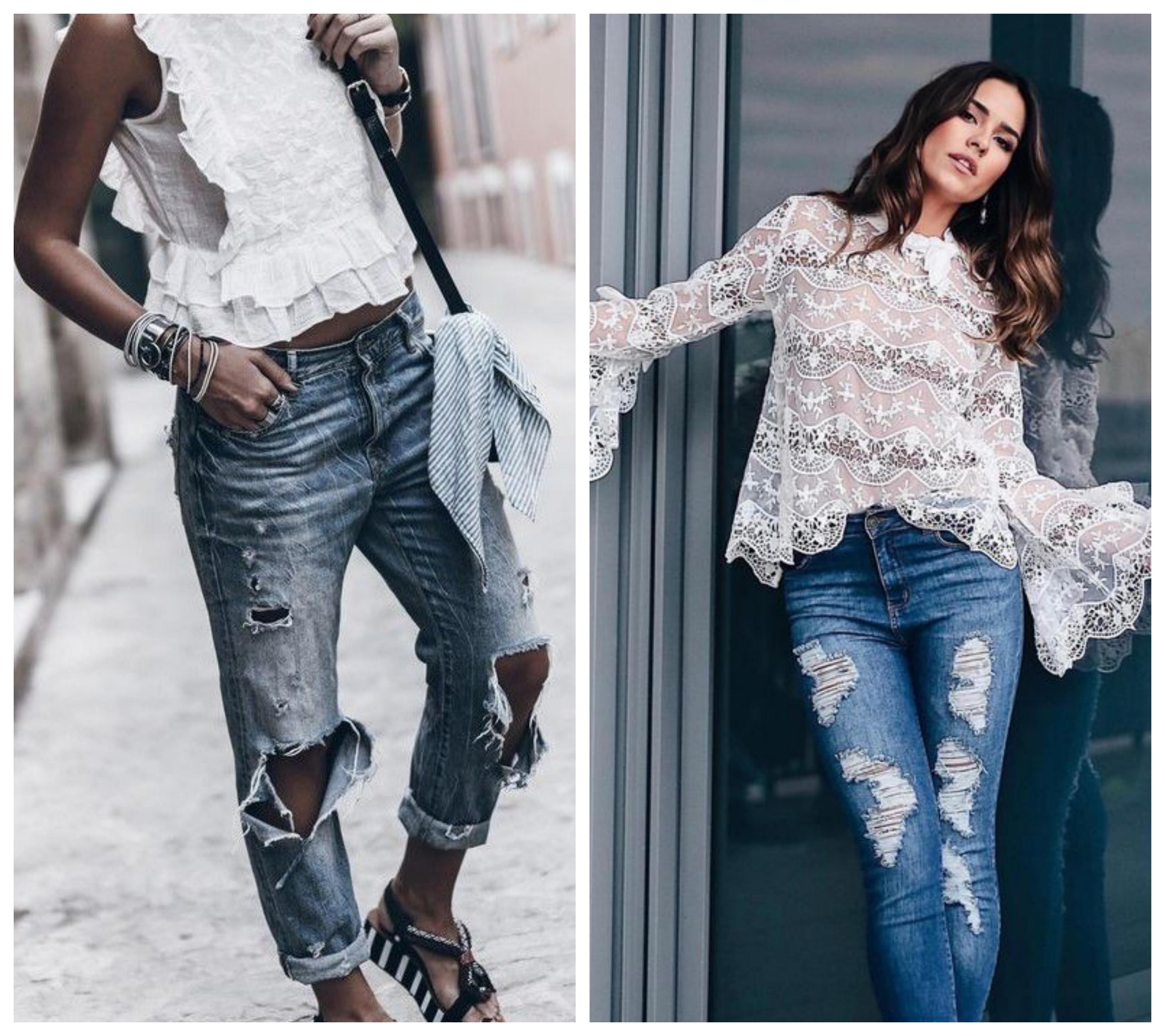 Рваные джинсы - стильный образ