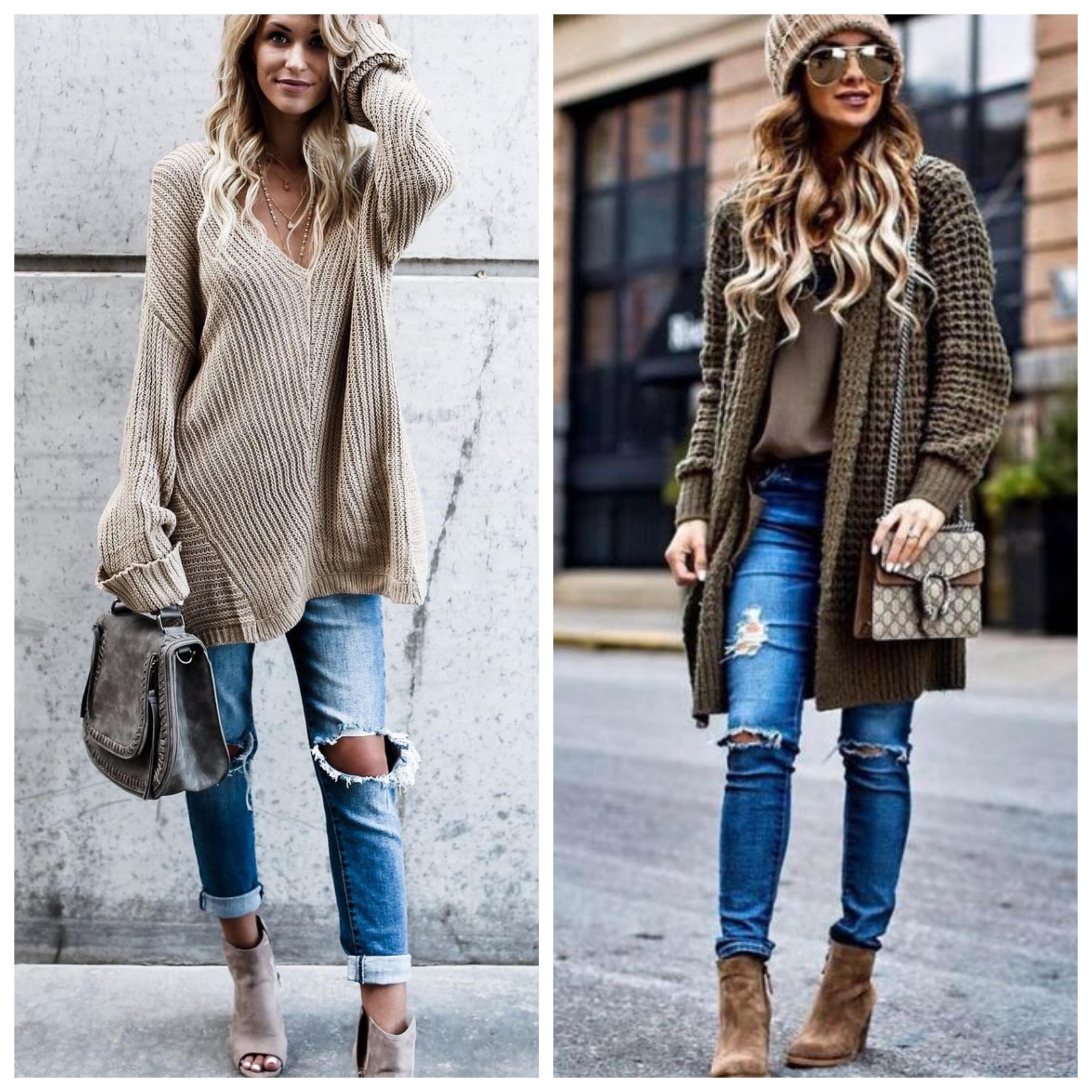 Рваные джинсы - модный лук