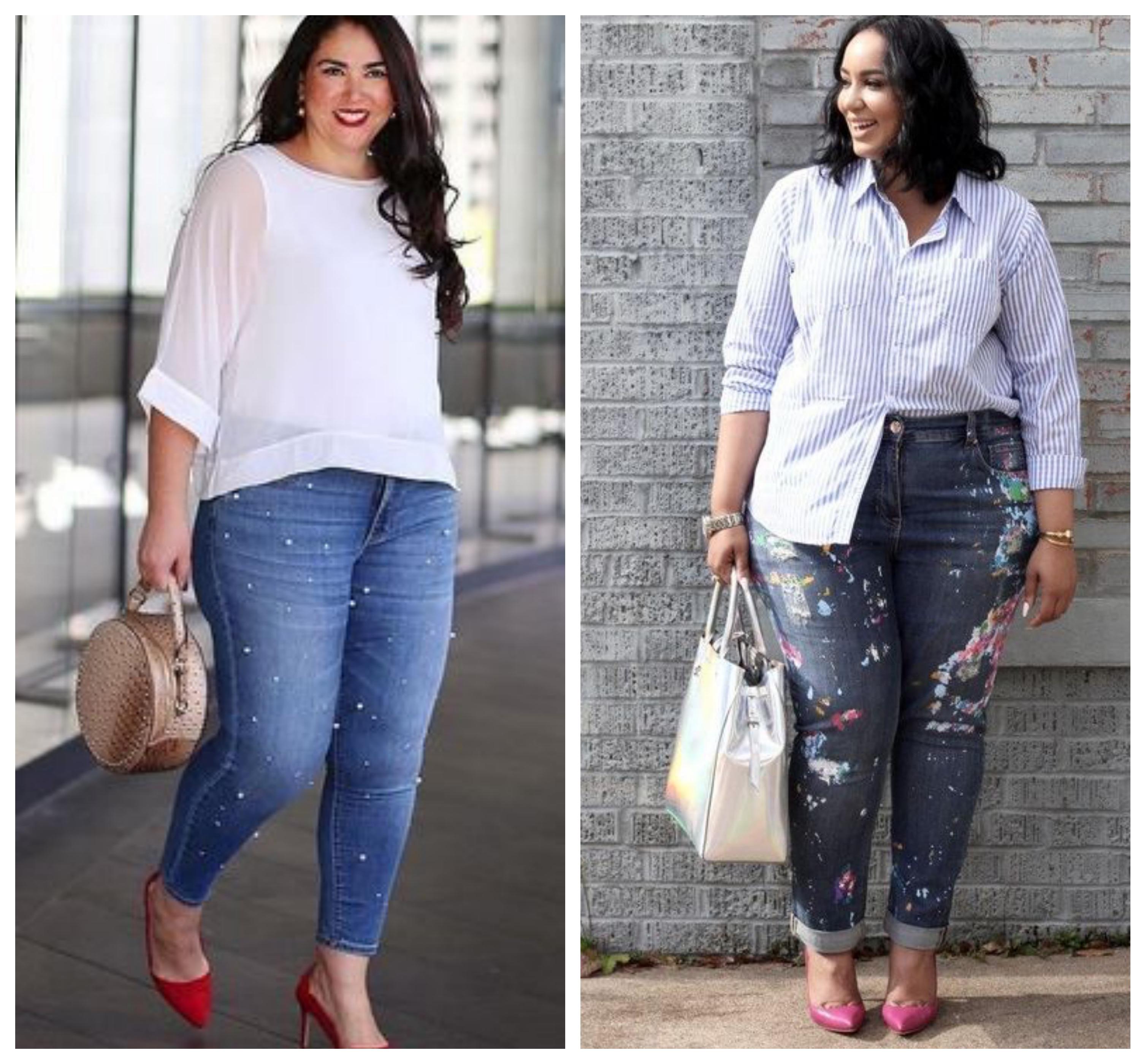 С чем носить джинсы для полных женщин