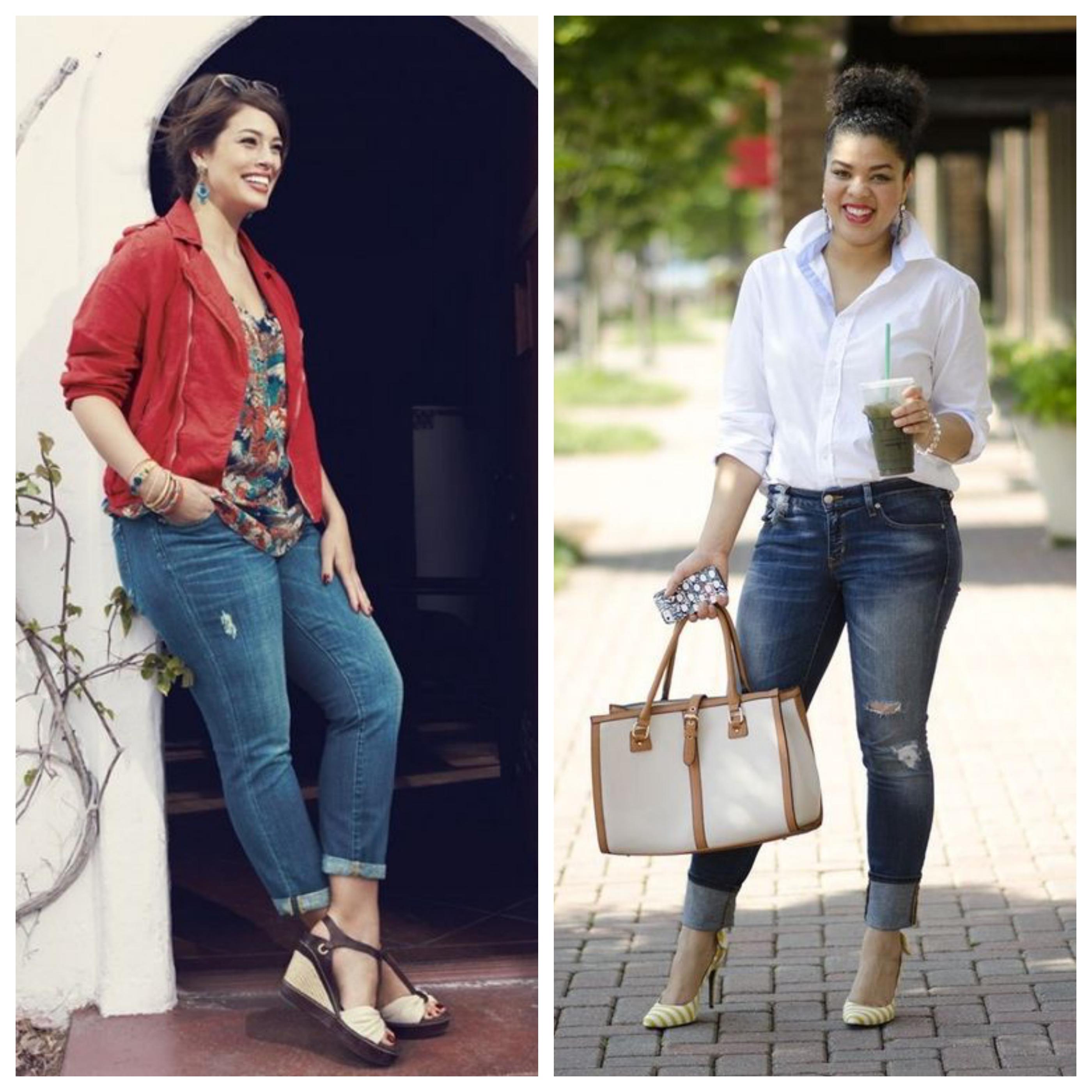 Джинсы для полных женщин - модные луки