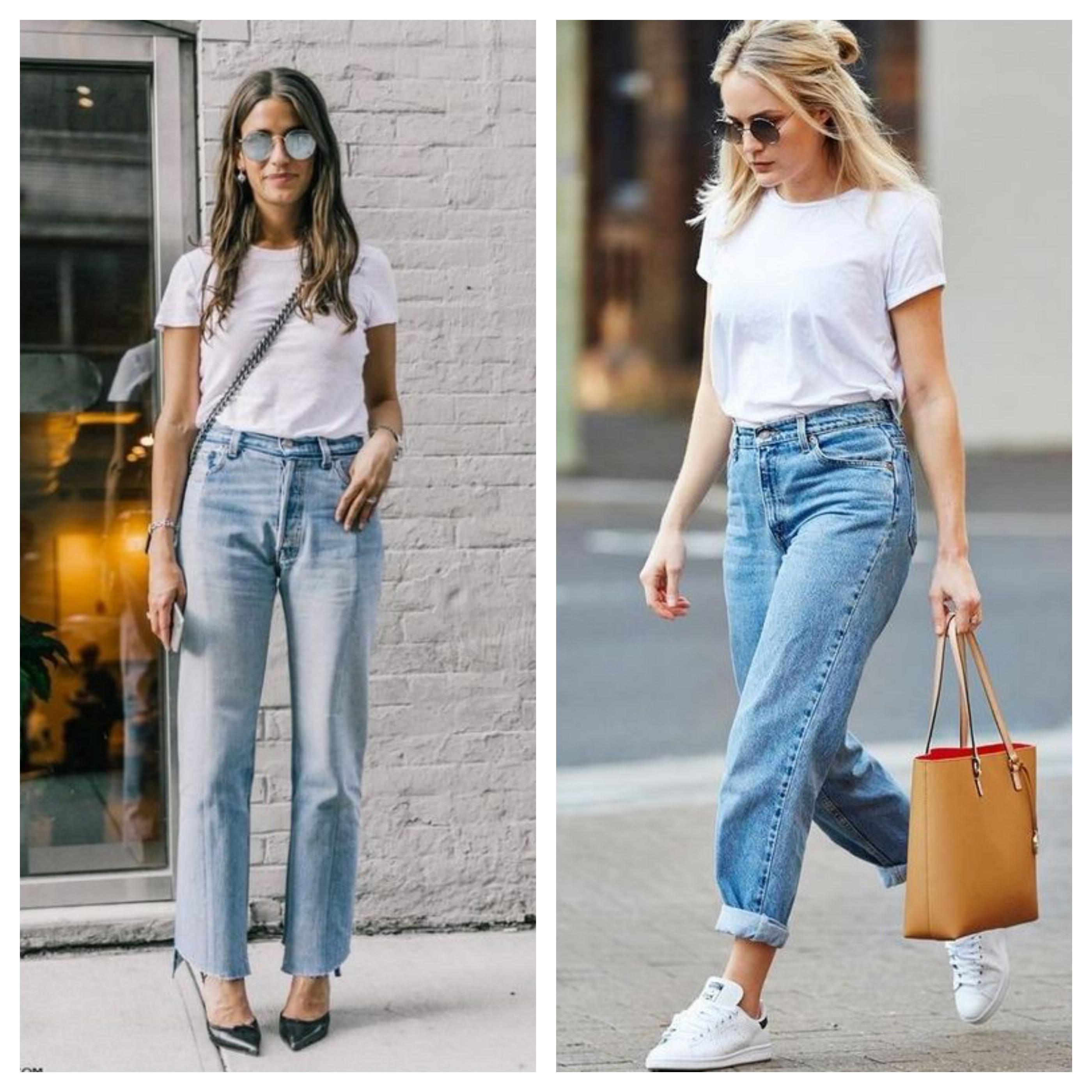 Образы с джинсами mom