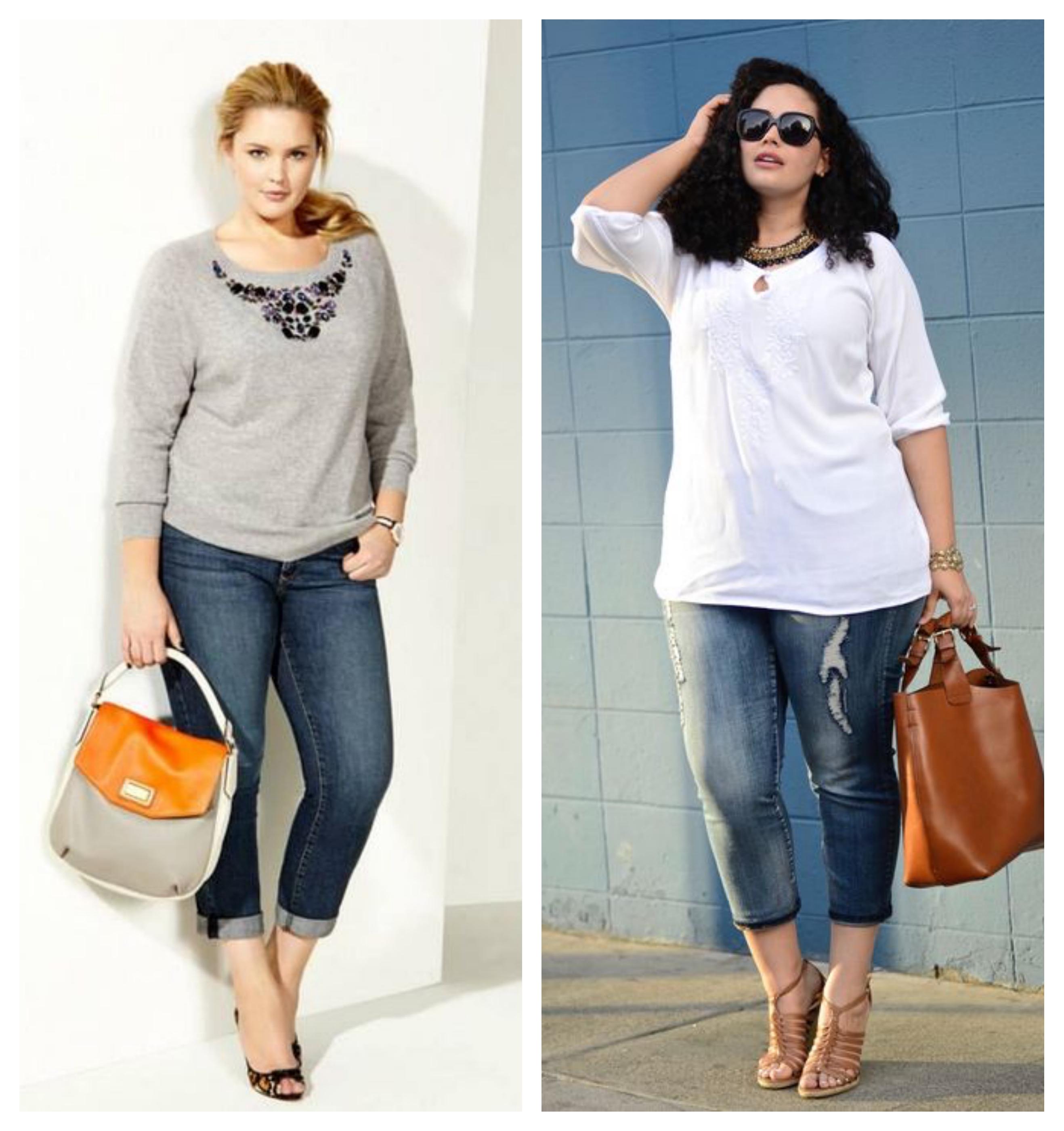 Укороченные джинсы для полных женщин