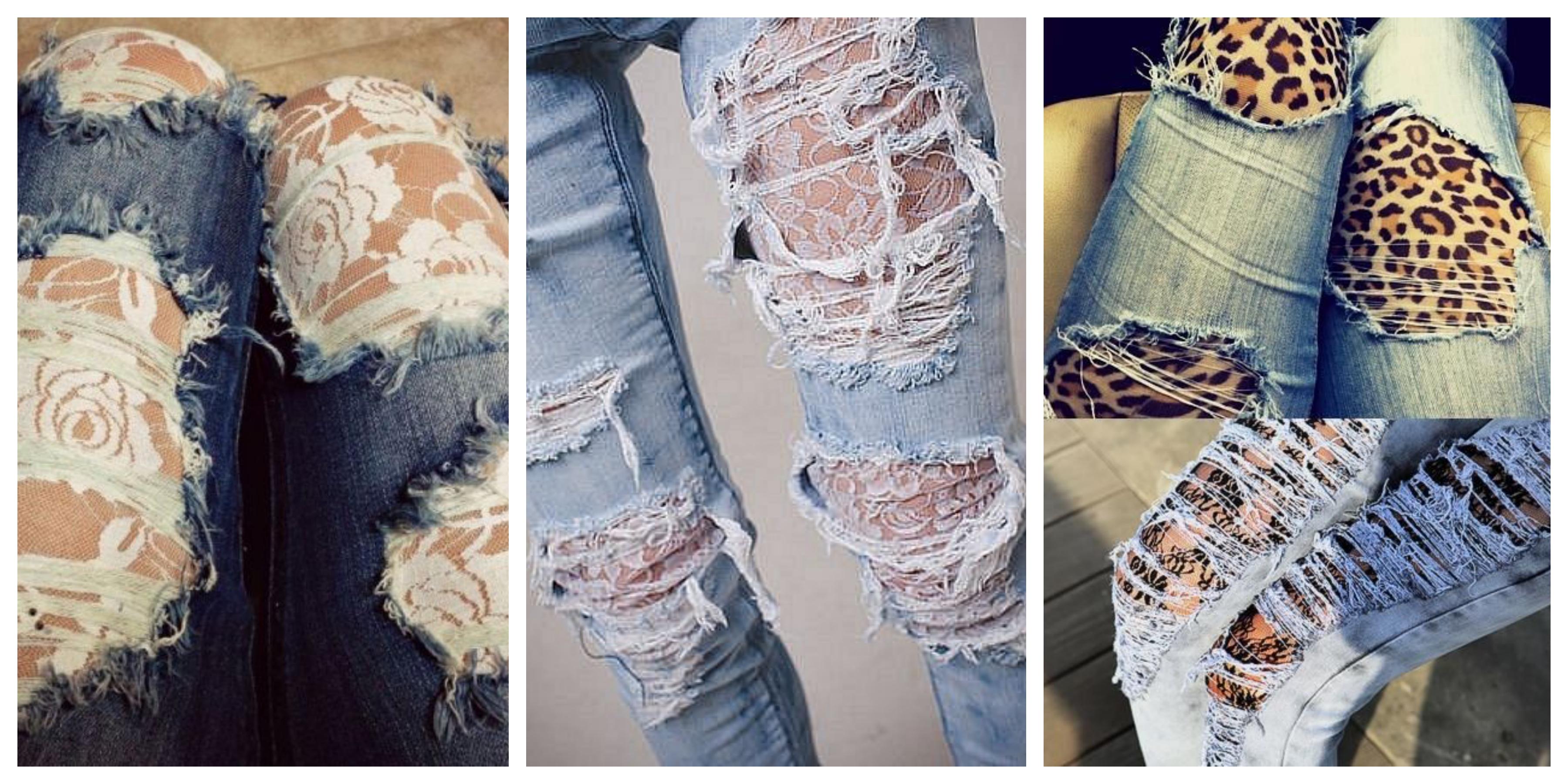Как сделать на джинсах дырки с кружевом