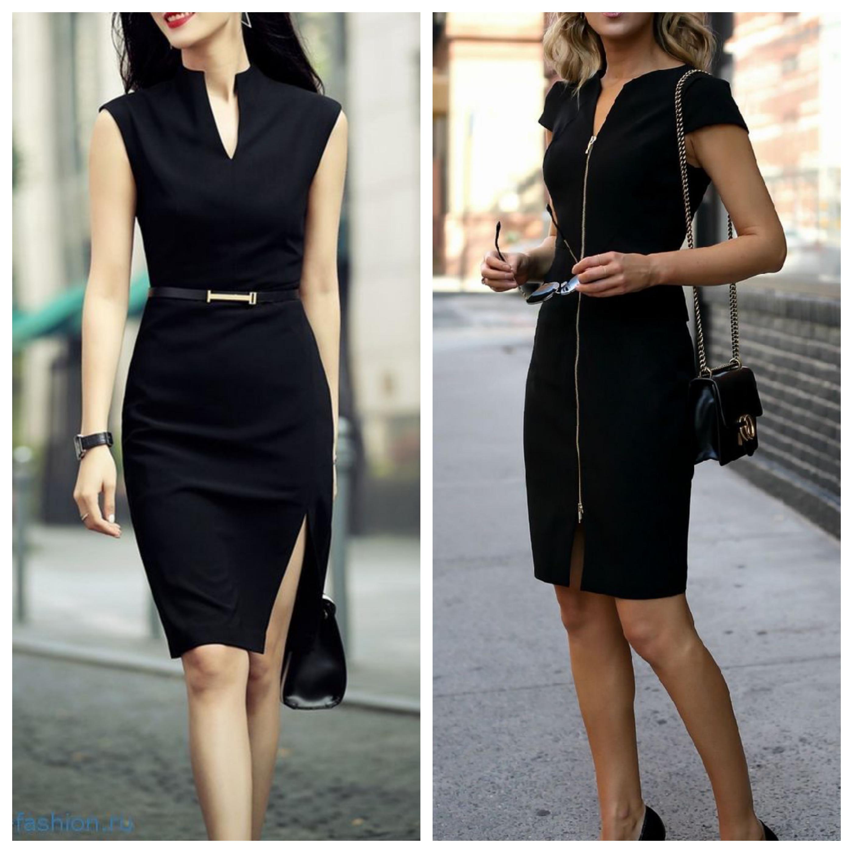 Деловое черное платье - офисный стиль