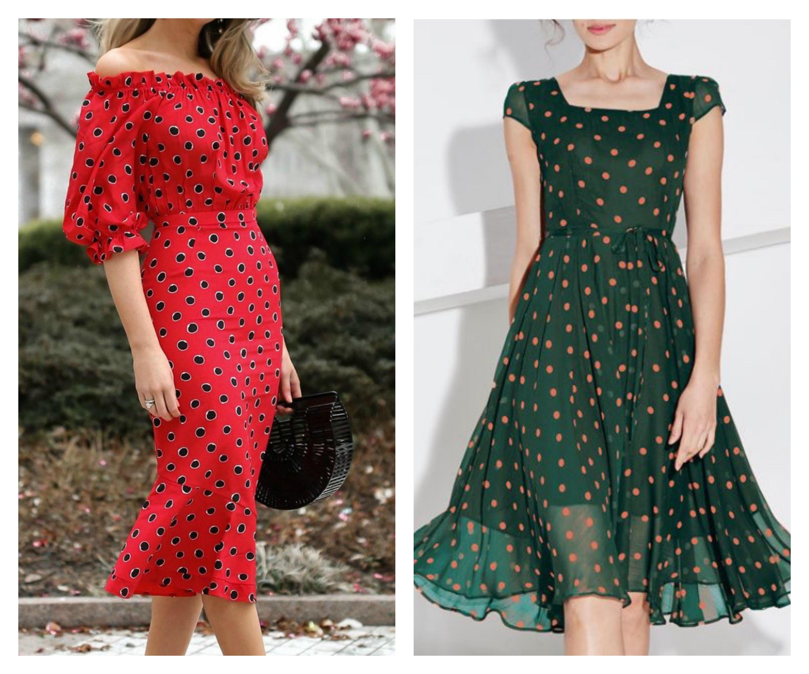 Платье миди в горошек