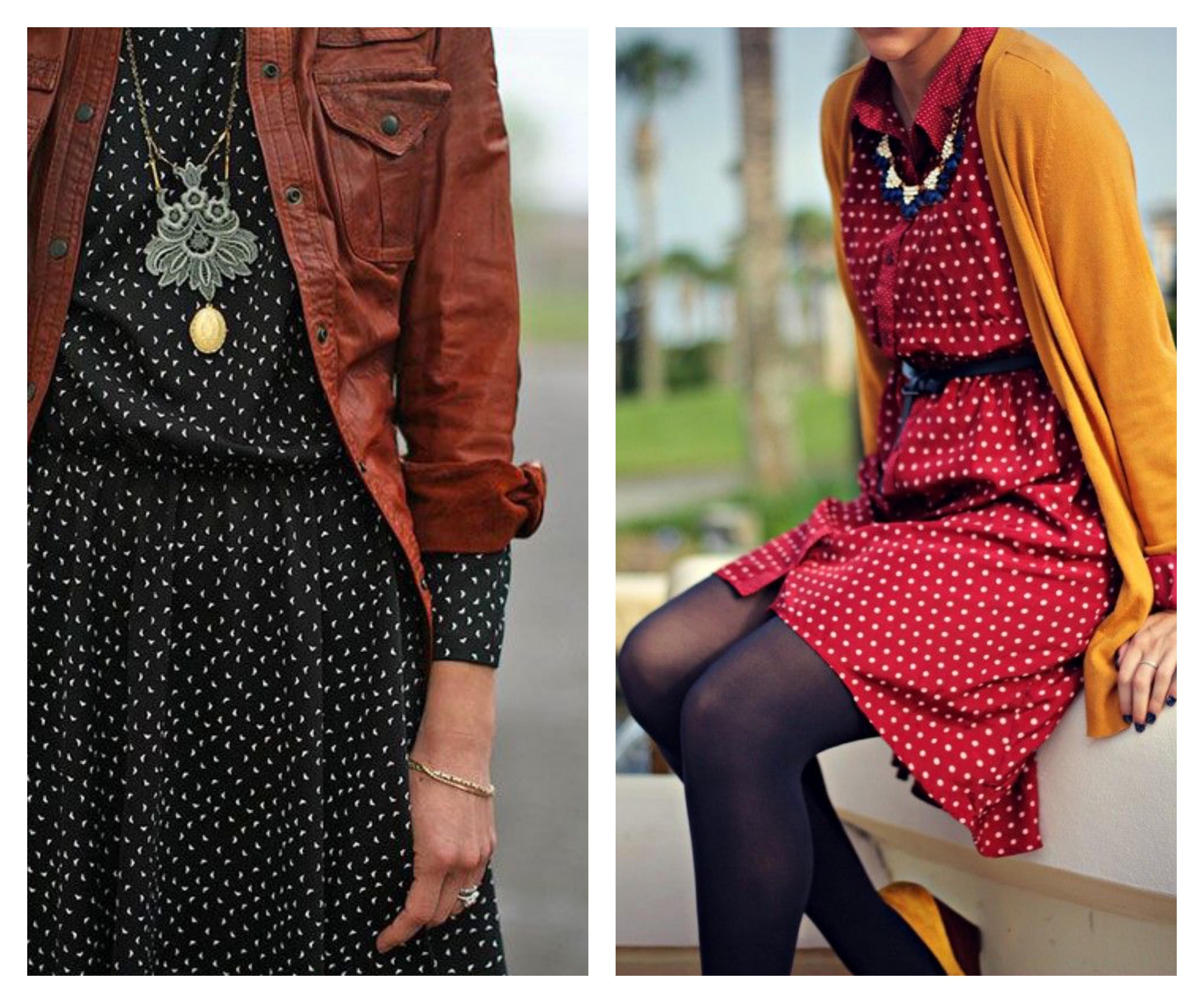 С чем носить платье в горошек