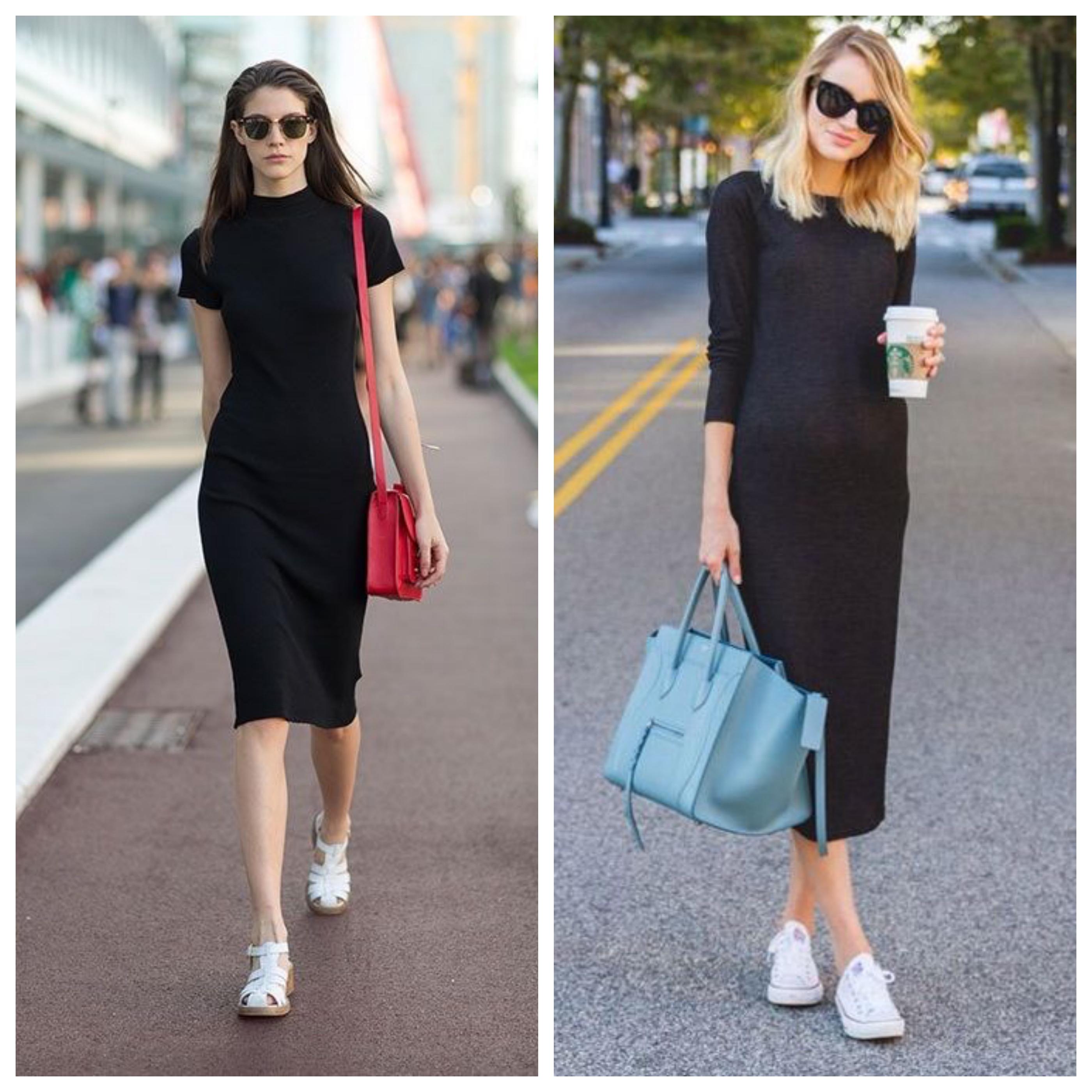 Кроссовки под черное платье