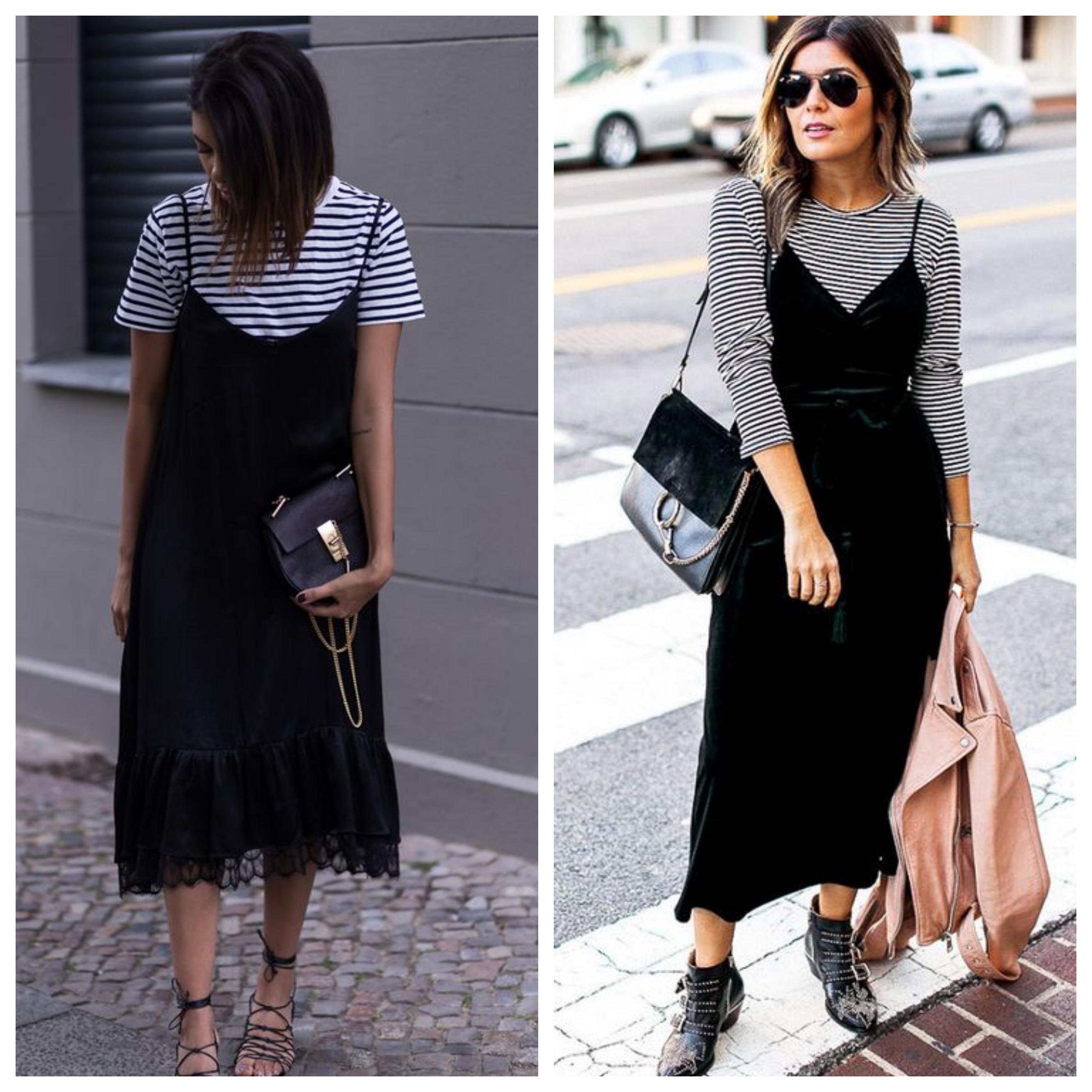 Черное платье с тельняшкой