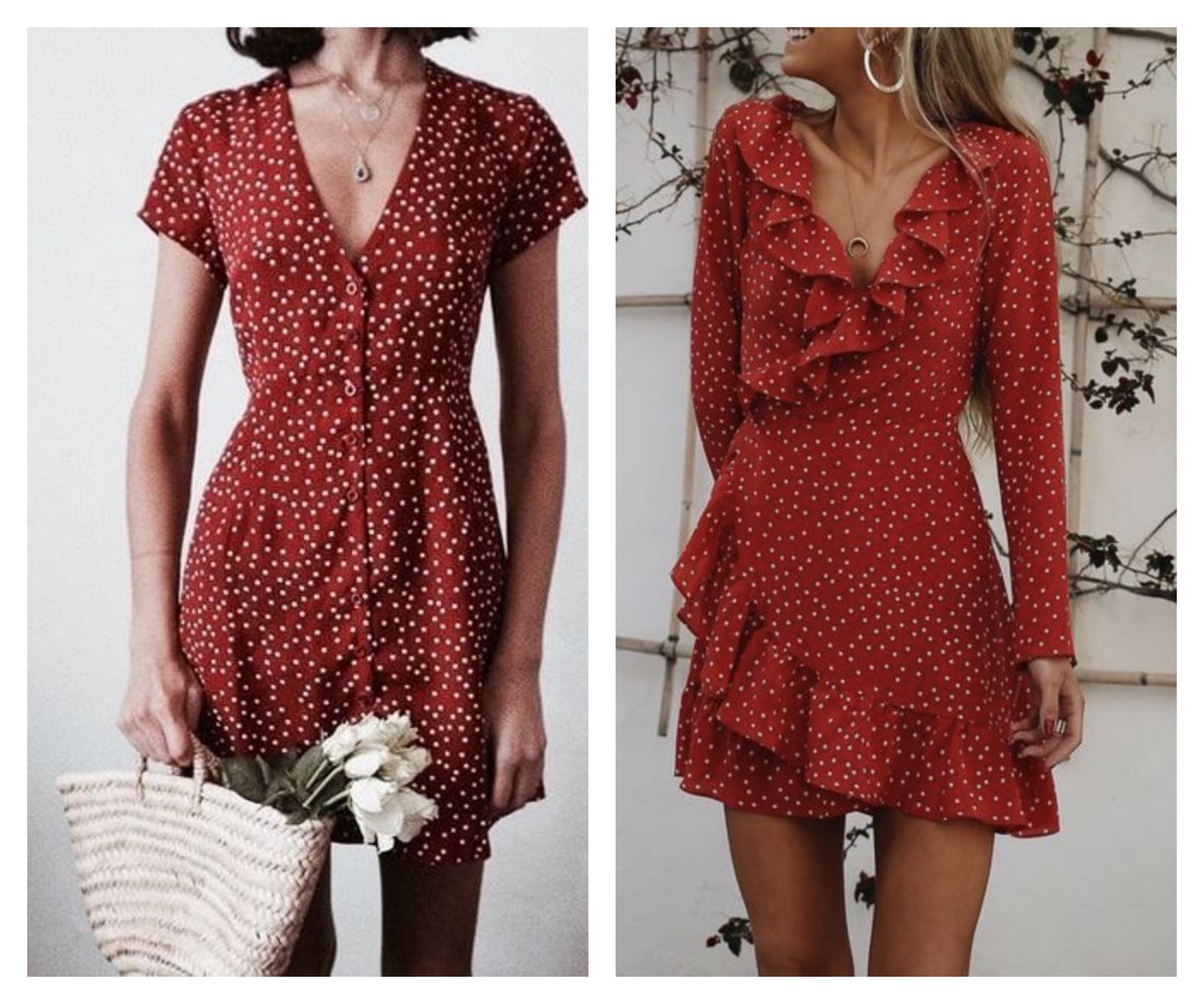 Красное короткое платье в горошек